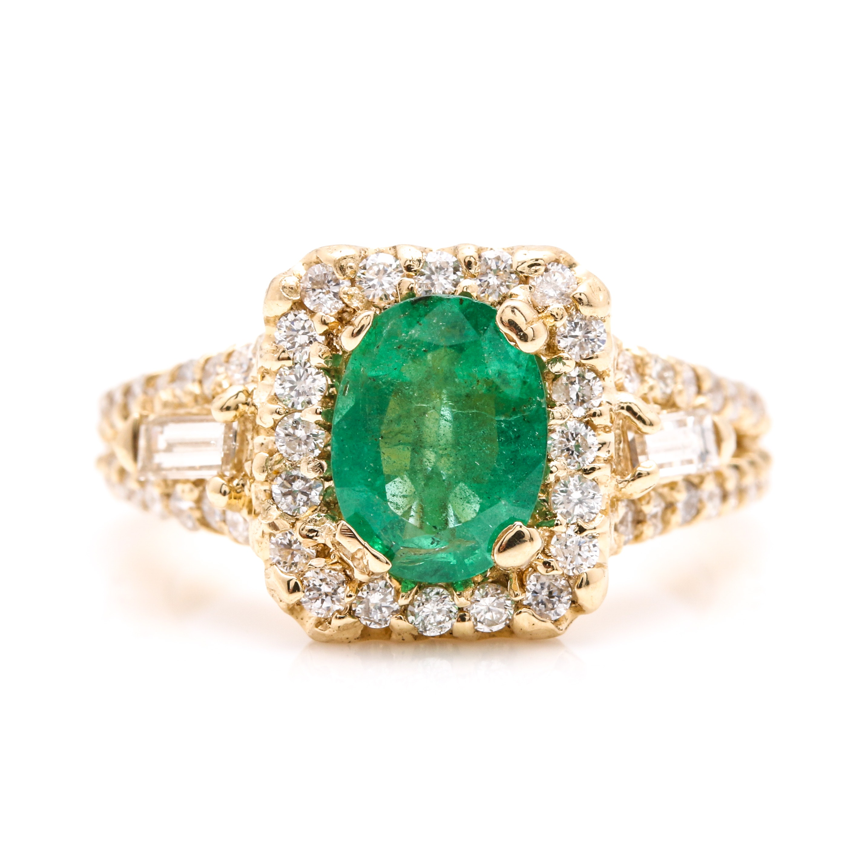 14K Yellow Gold 1.01 CT Emerald and 0.99 CTW Diamond Ring