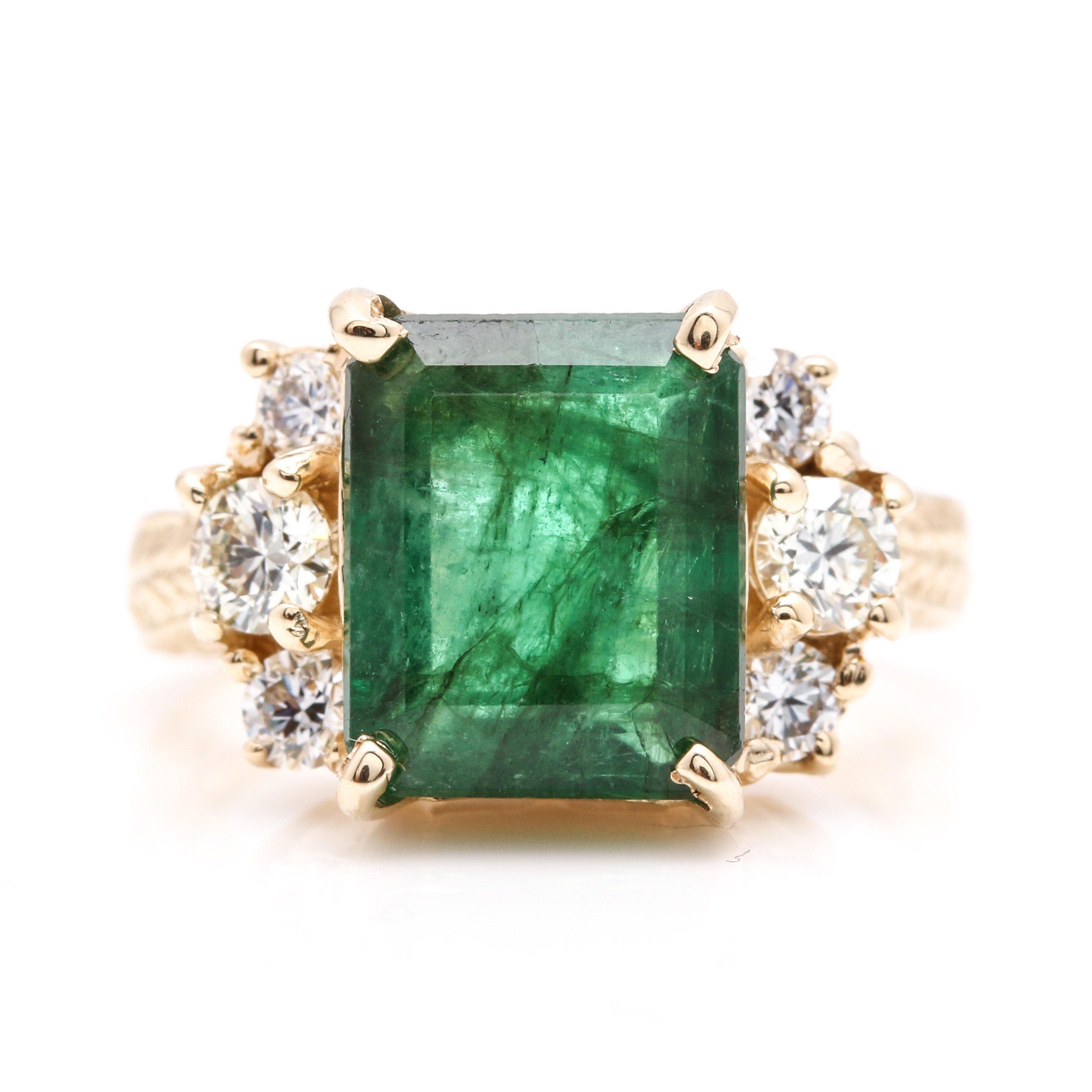 14K Yellow Gold 3.39 CT Emerald and Diamond Statement Ring
