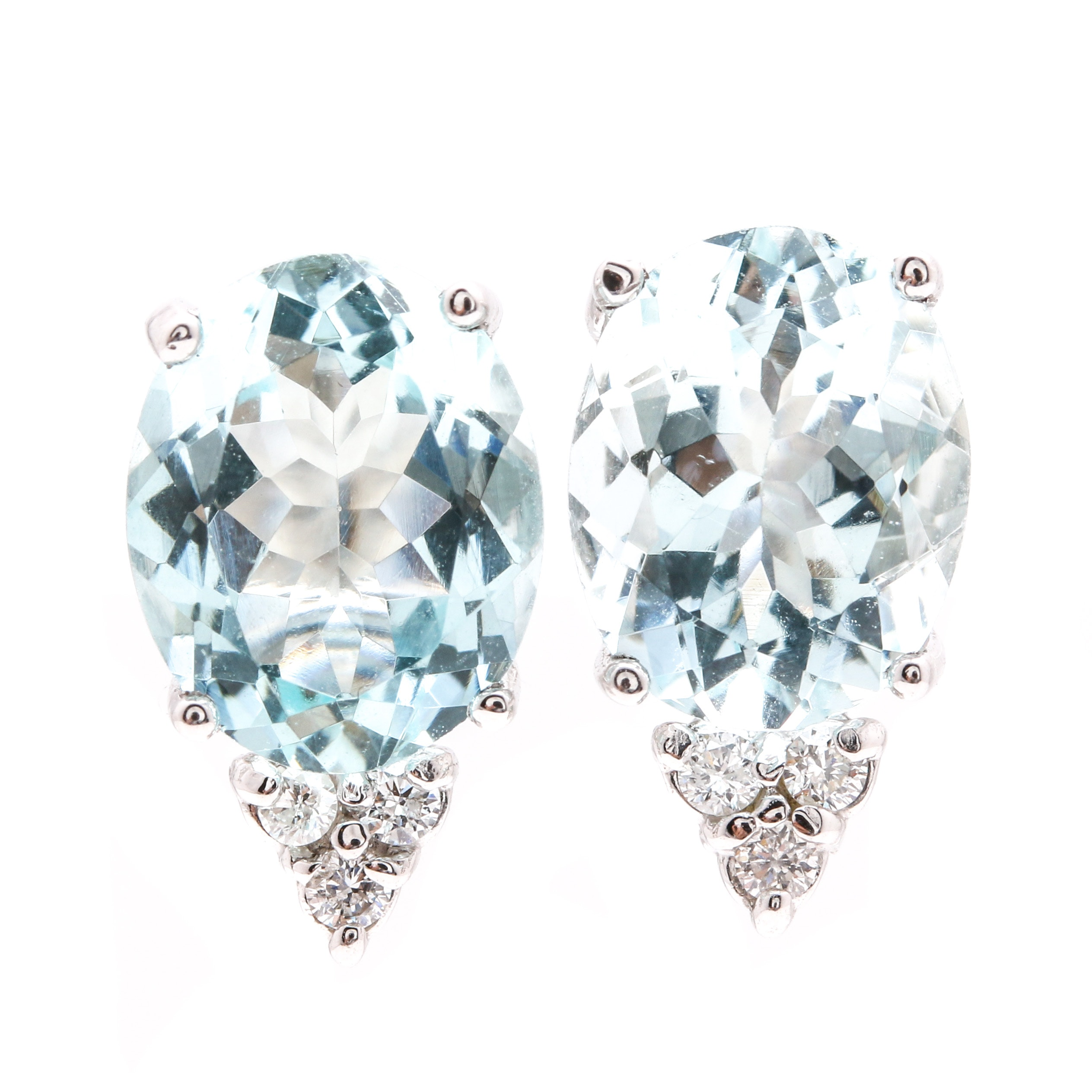 14K White Gold 4.36 CTW Aquamarine and Diamond Stud Earrings