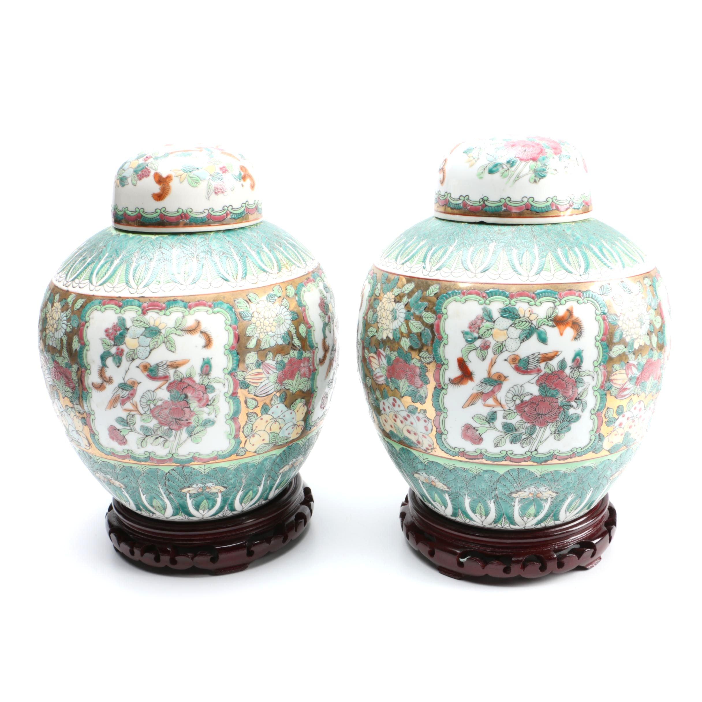 Pair of Chinese Handmade Famille Verte Style Porcelain Urns