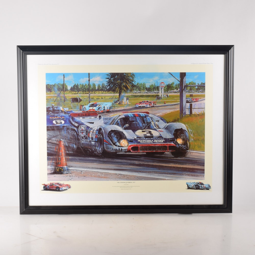 """After Nicholas Watts Offset Lithograph """"The 12 Hours of Sebring - 1971"""""""