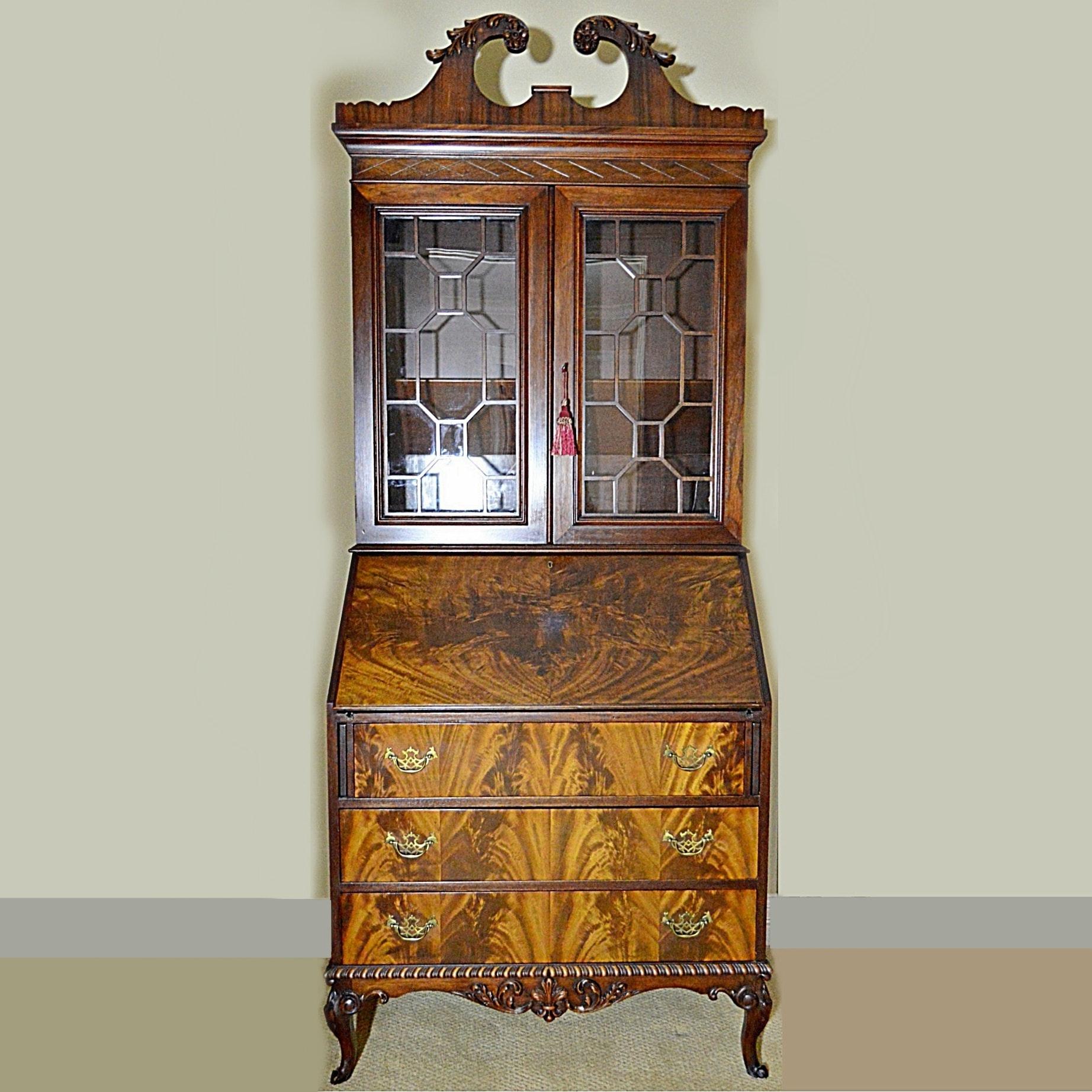 Vintage Louis XV Style Secretariat Cabinet in Flame Mahogany