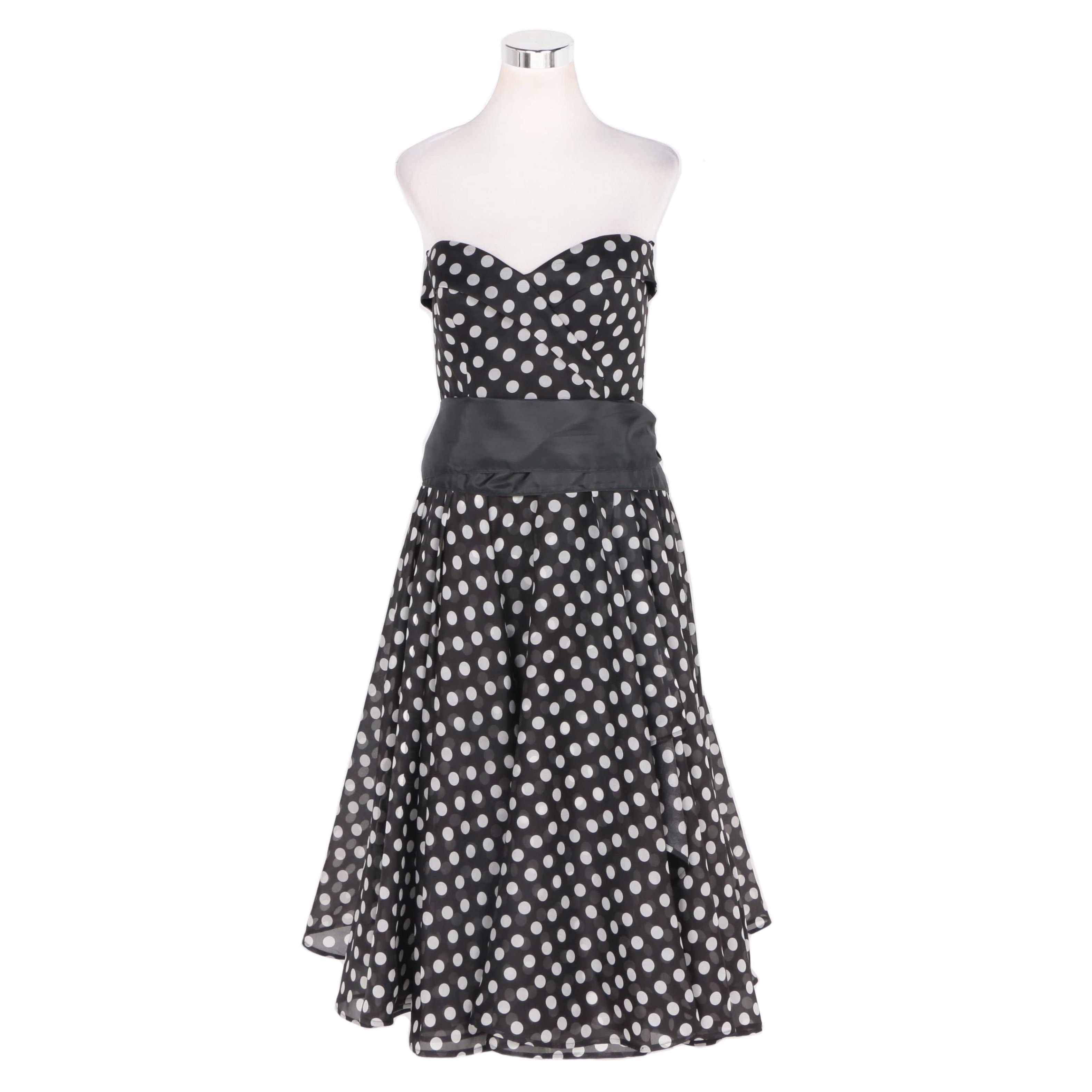 """""""Hayden"""" Tea Length Silk Dress with Black and White Polka Dots"""
