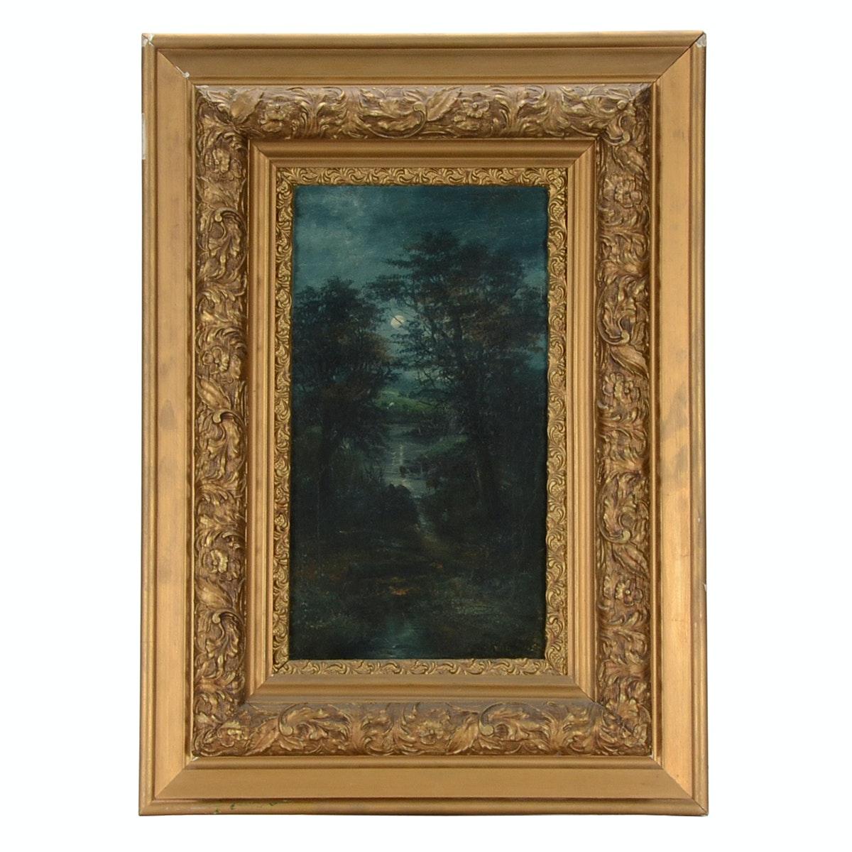 Antique G. Wallace Original Nocturne Oil Painting on Canvas