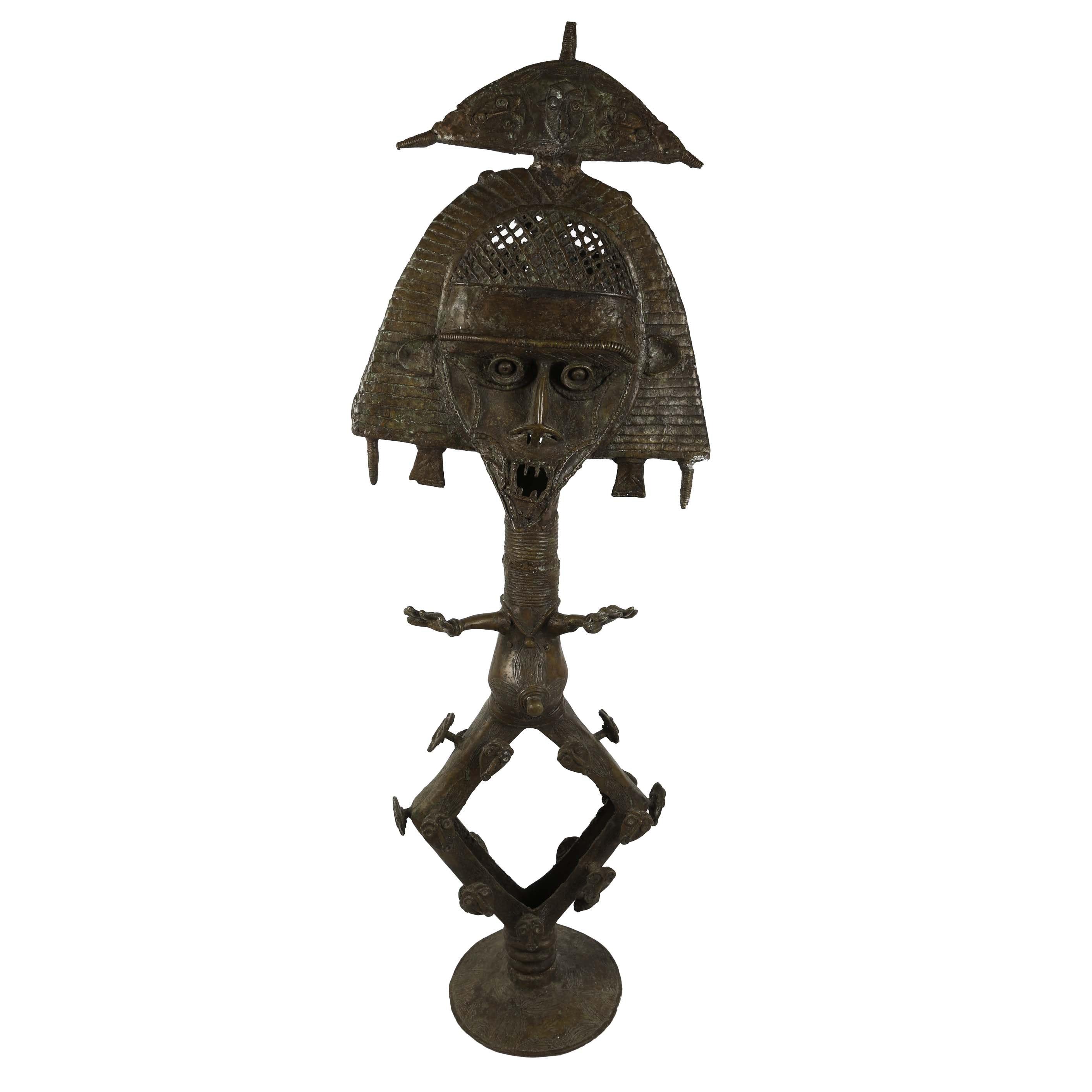 Kota Tribal Copper and Brass Reliquary Sculpture