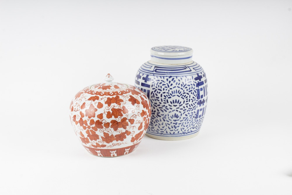 two chinese ceramic ginger jars - Ginger Jars