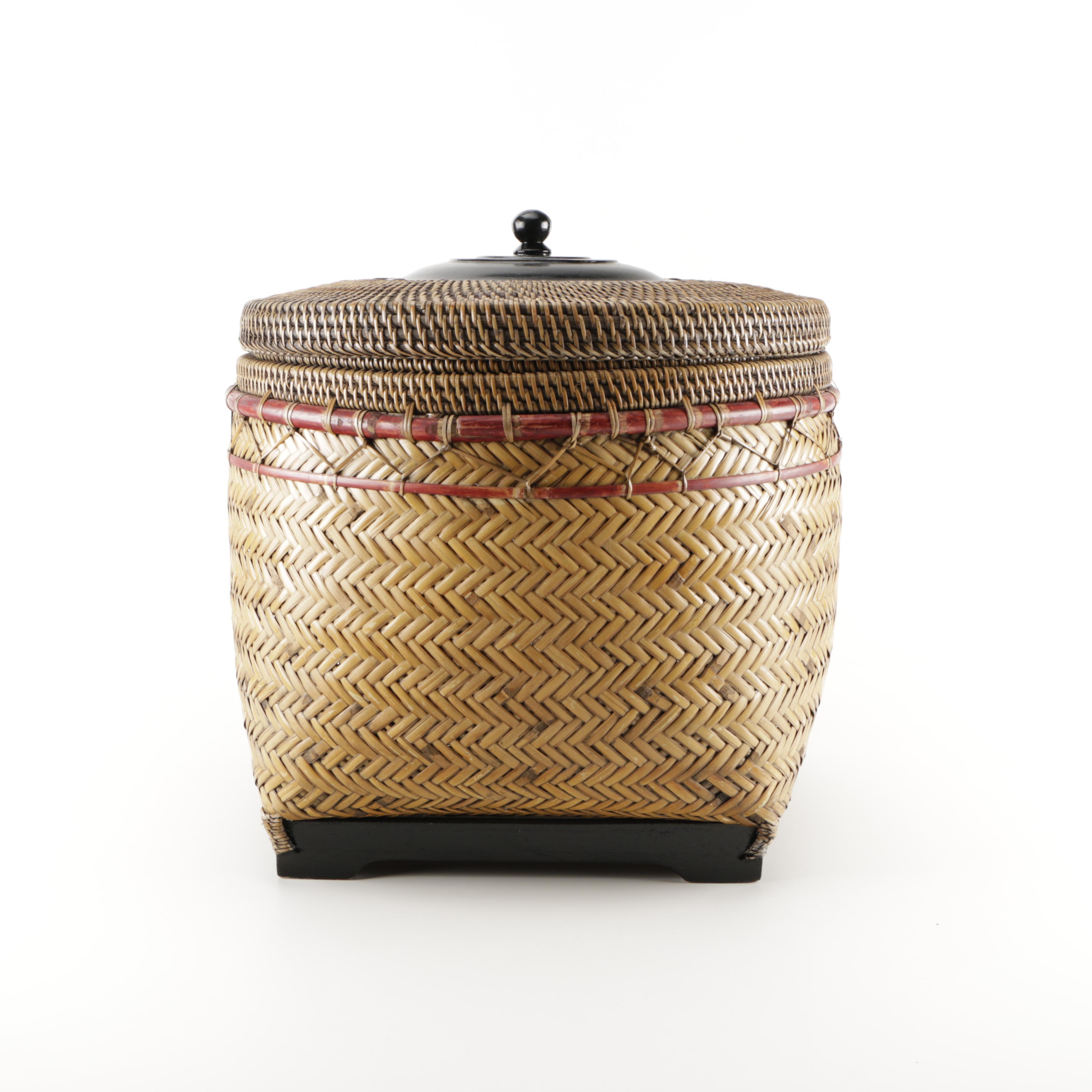 "Crate & Barrel ""Rinjani"" Basket With Lid"