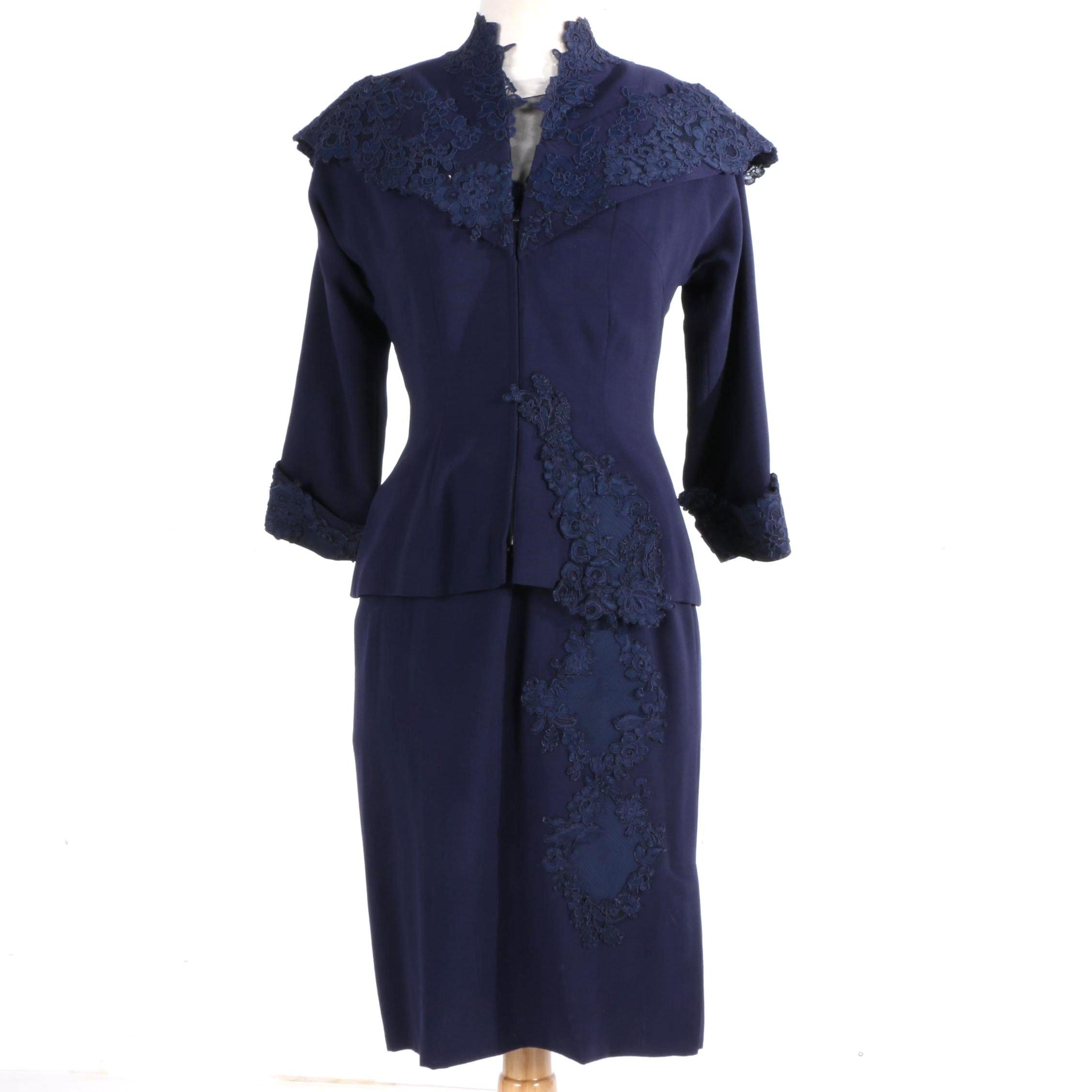 Vintage Circa 1950s Navy Blue Dress Set