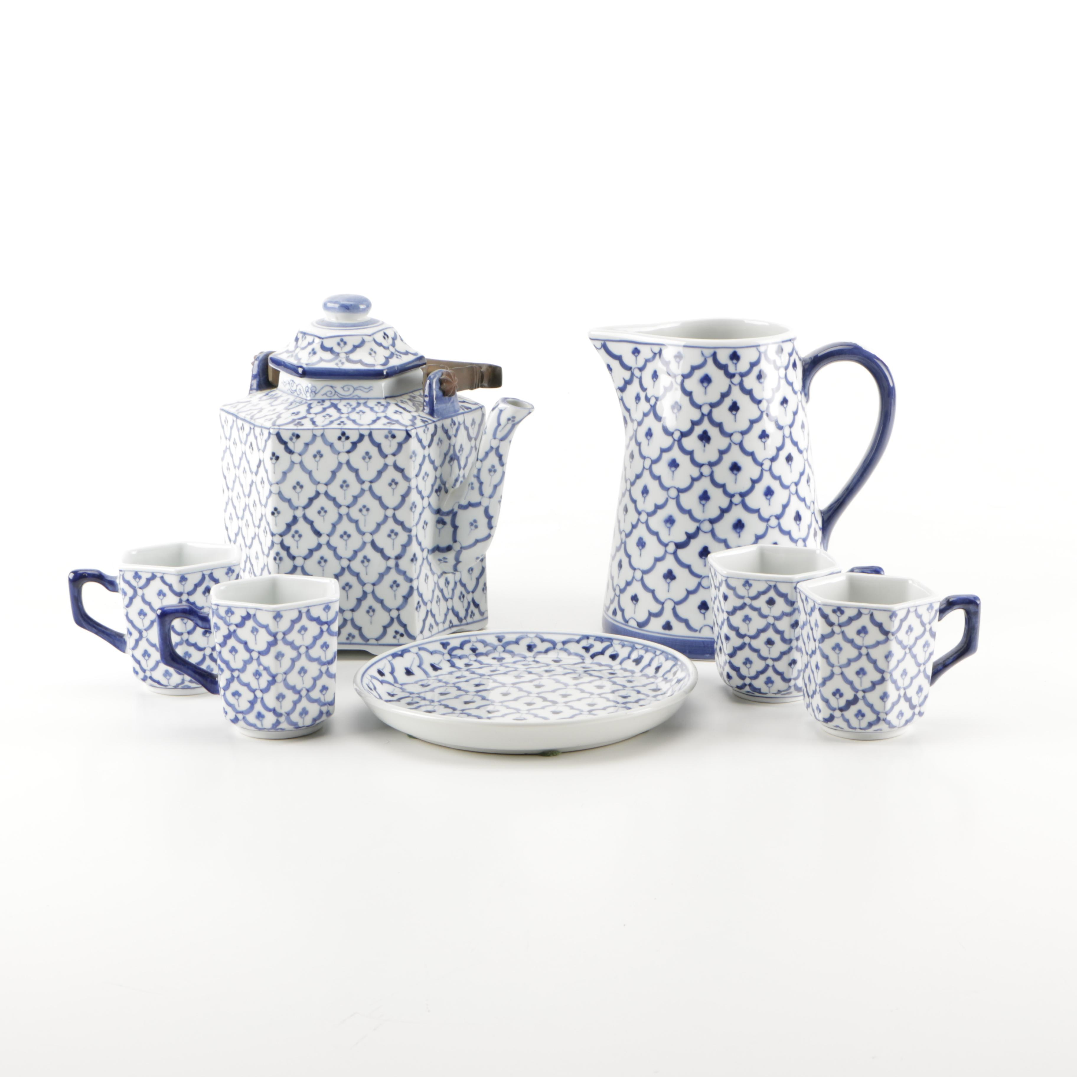 White and Blue Tea Service