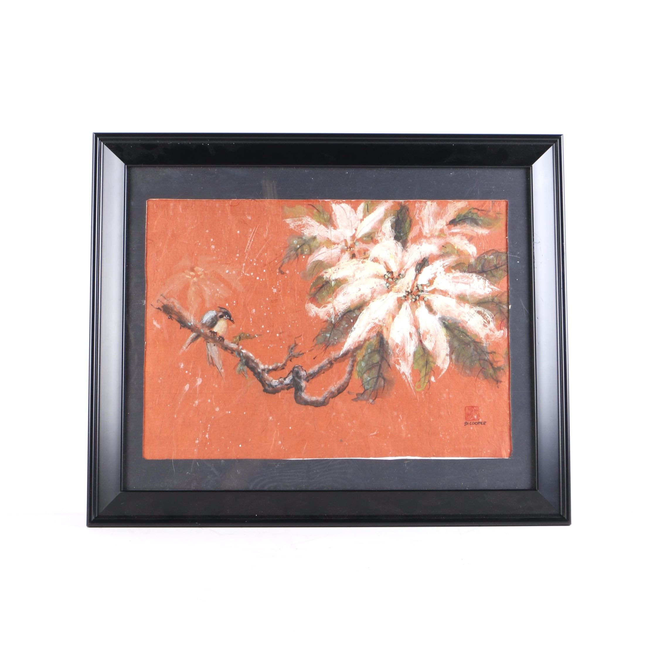 S. Cooper Watercolor and Goache on Red Textured Paper of a Blossoming Branch