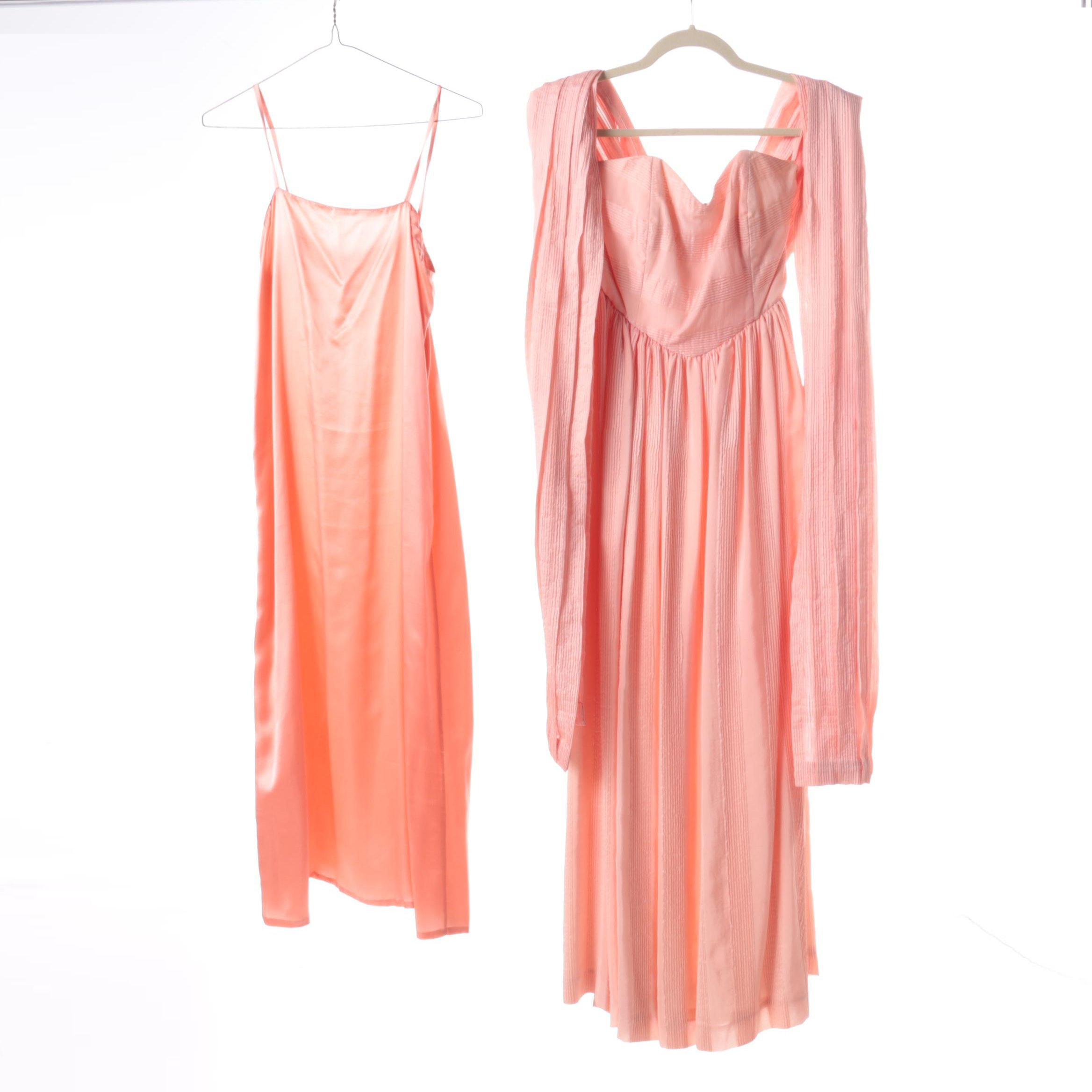 Vintage Strapless Pink Dress with Scarf and Silk Slip