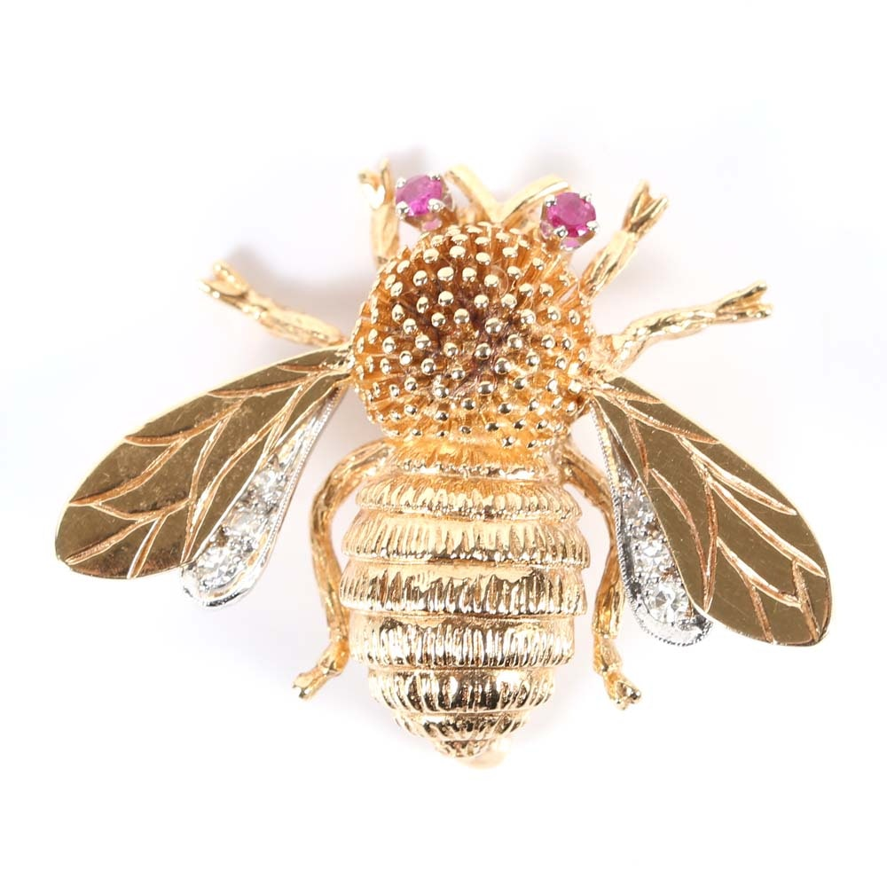 14K Gold Neoclassical Bee Brooch with Ruby Eyes and Diamond Set Wings
