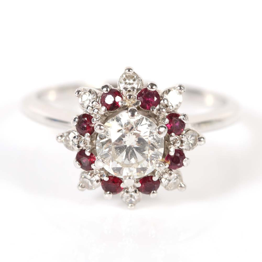 18K White Gold Round Brilliant Diamond and Ruby Ring