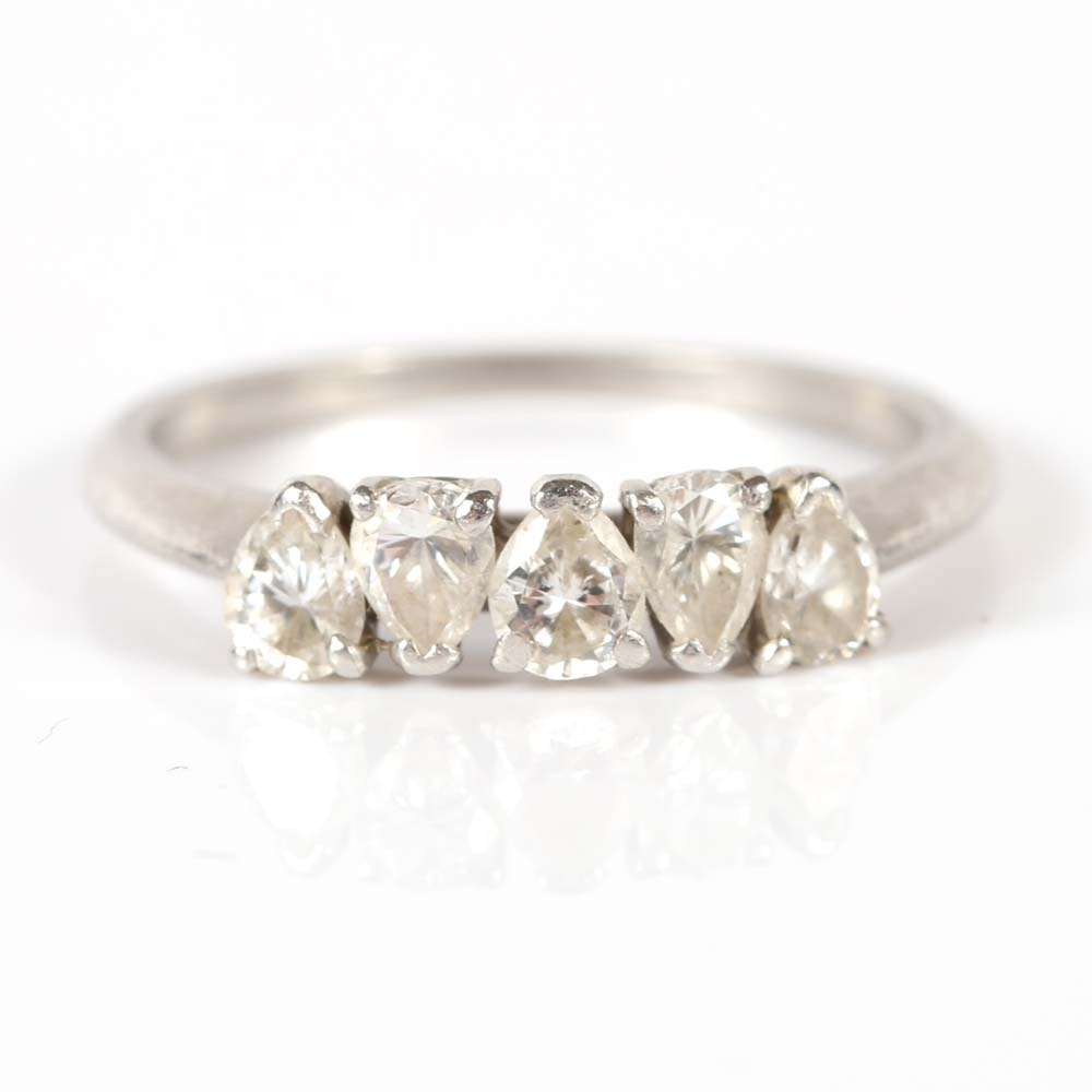 Platinum Five-Stone Pear Shaped Diamond Band