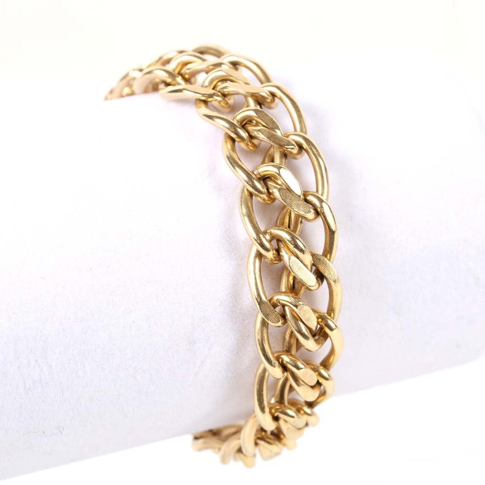 14K Gold Textured and Polished Link Bracelet