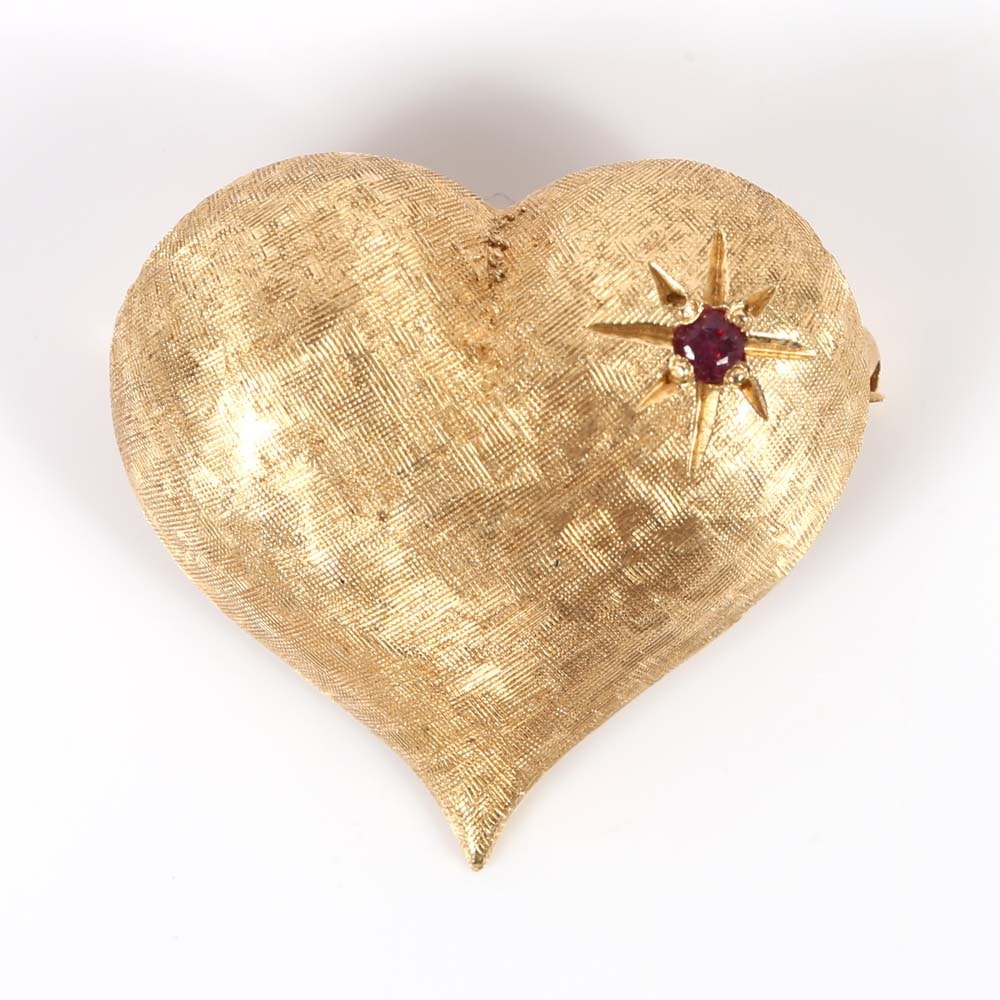14K Yellow Gold Textured Heart Brooch with Ruby