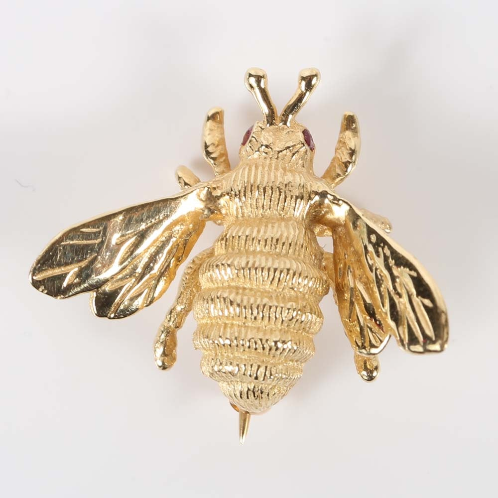 14K Yellow Gold Textured Bee Brooch with Ruby Eyes