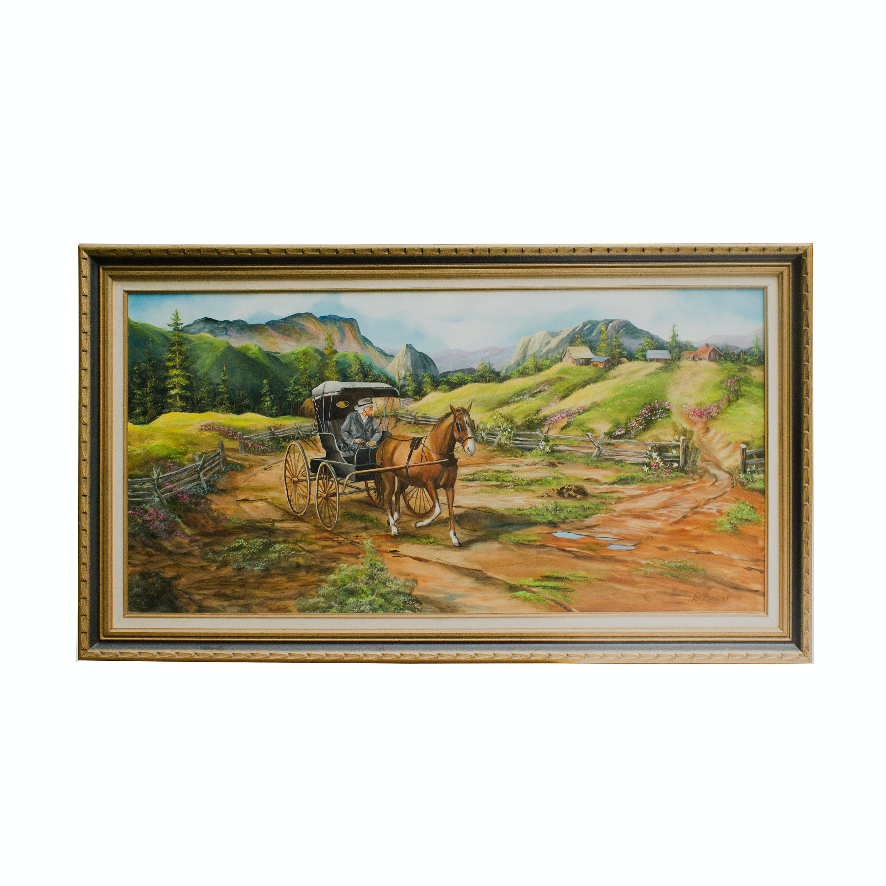 Lee Hirano Oil on Canvas Mountain Landscape With Horse-Drawn Carriage