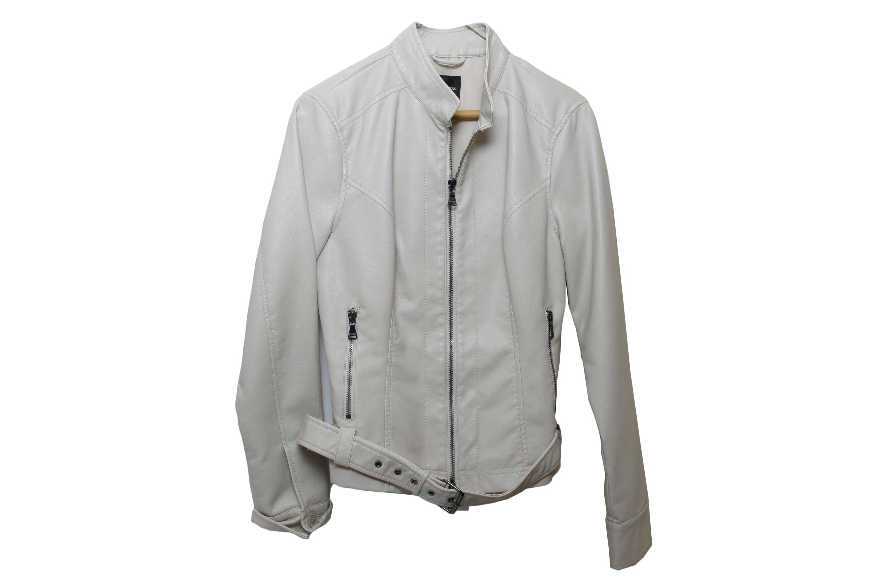 Express Off White Faux Leather Jacket