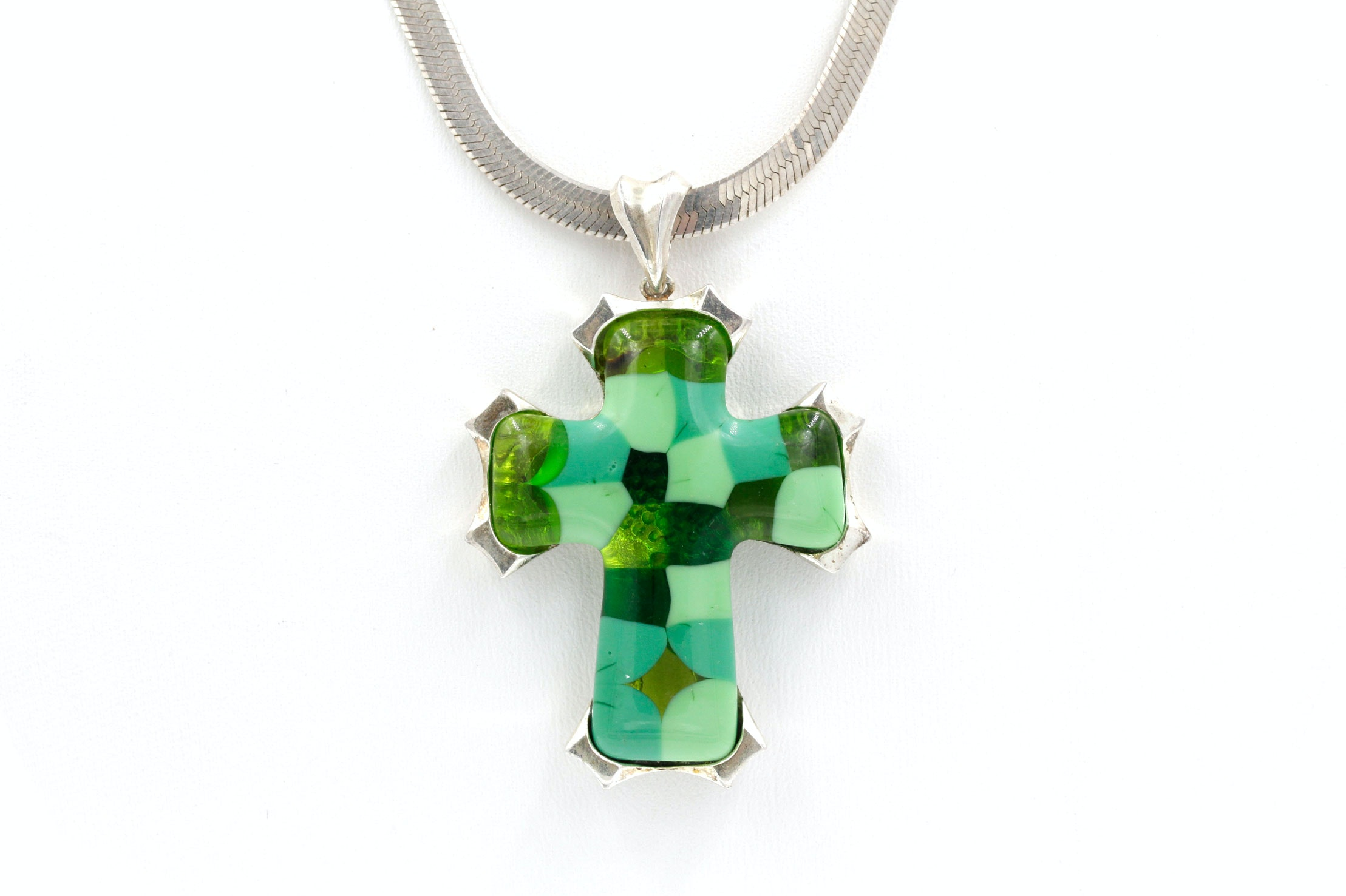 Sterling Silver Necklace with Art Glass Cross Pendant