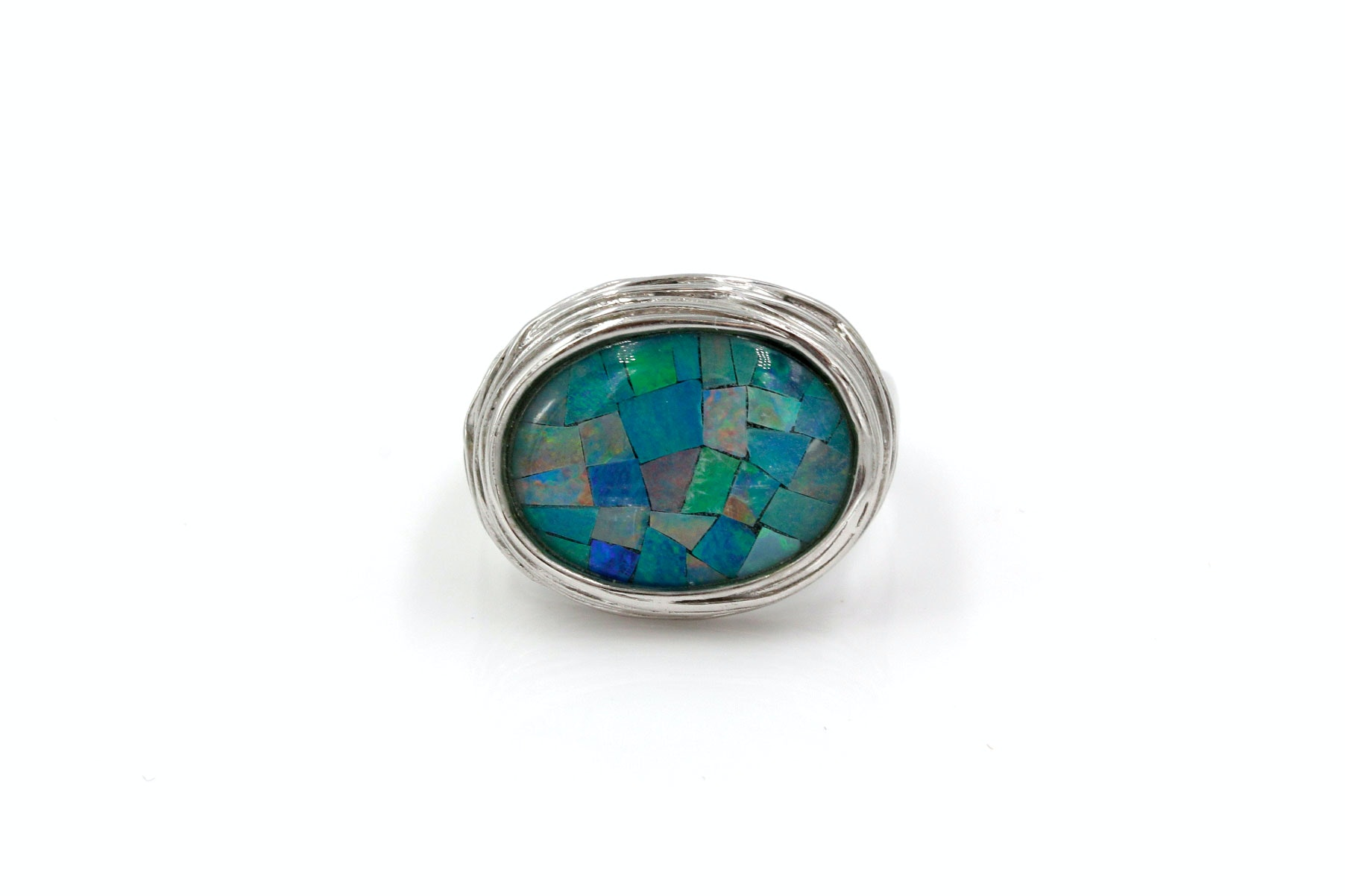Sterling Silver and Opal Triplet Ring