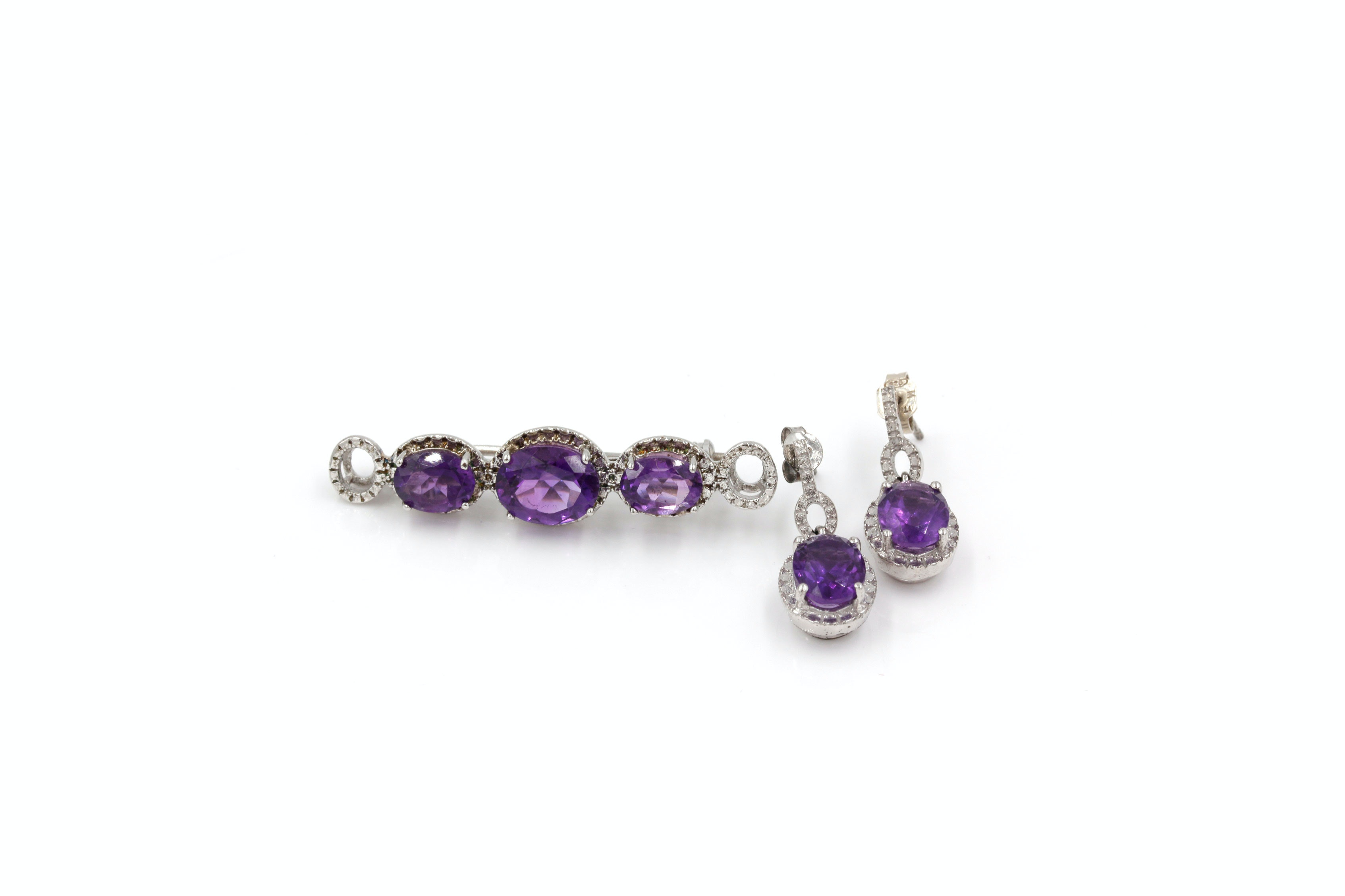 Sterling Silver and Amethyst Earrings and Brooch