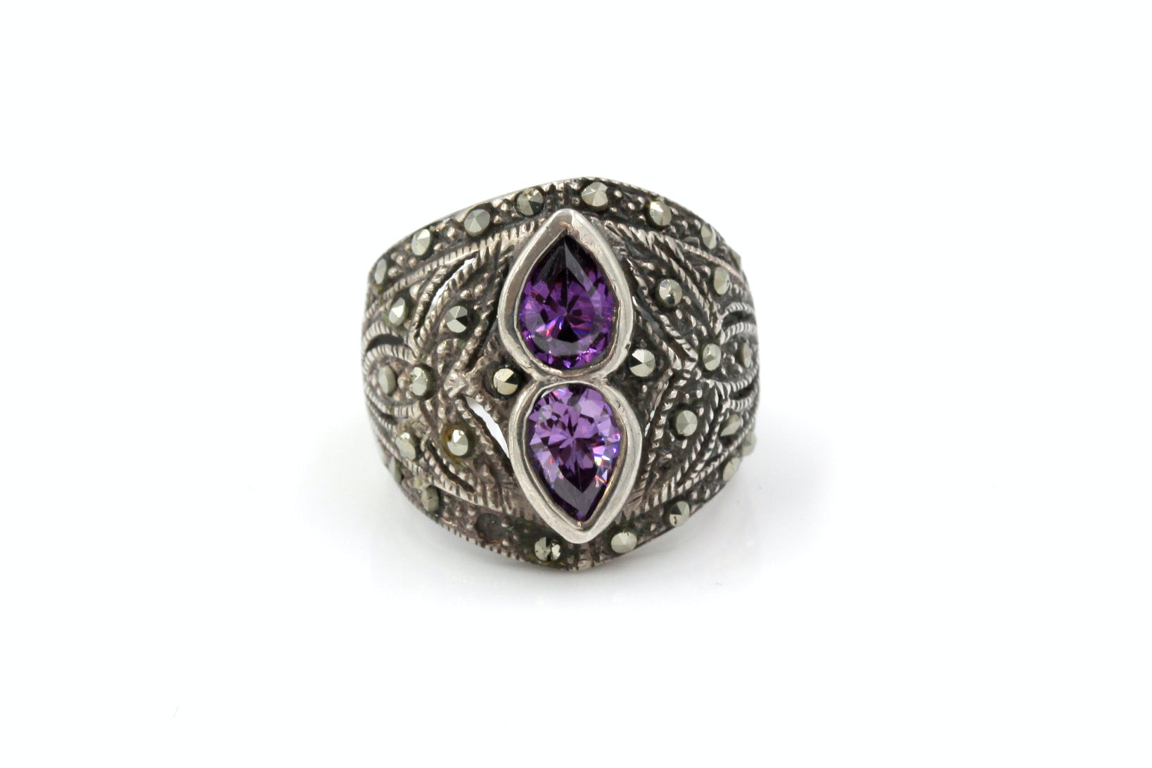 Sterling Silver, Marcasite and CZ Ring