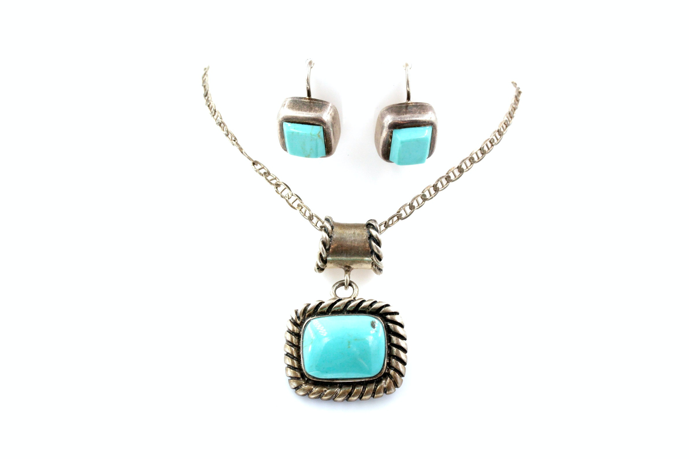 Sterling Silver Necklace and Earrings with Synthetic Turquoise