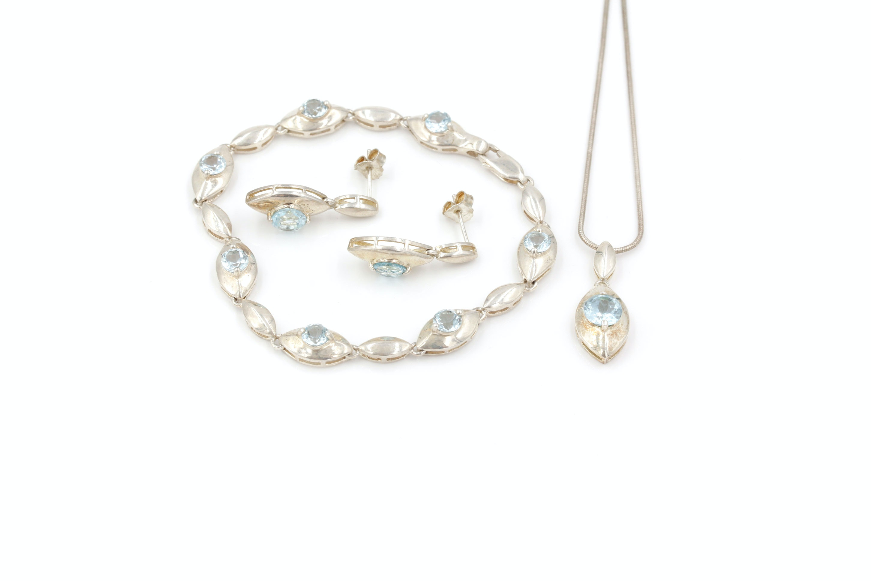 Sterling Silver and Blue Topaz Necklace, Bracelet and Earrings Set