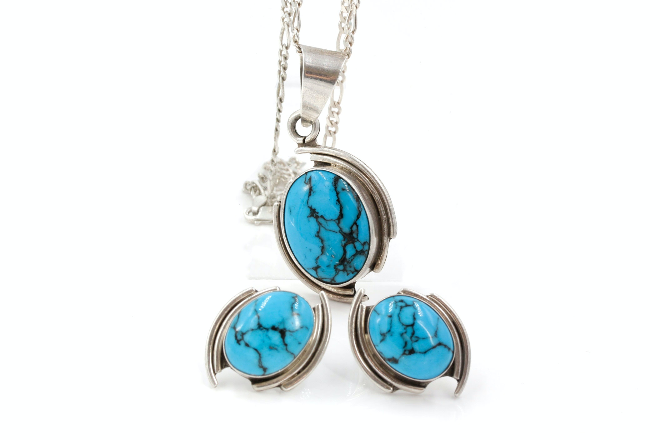 Sterling Silver Necklace and Earrings with Magnesite and Howlite