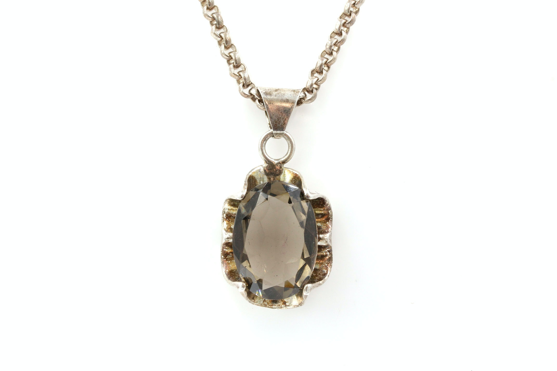 Sterling Silver Necklace with Glass Pendant