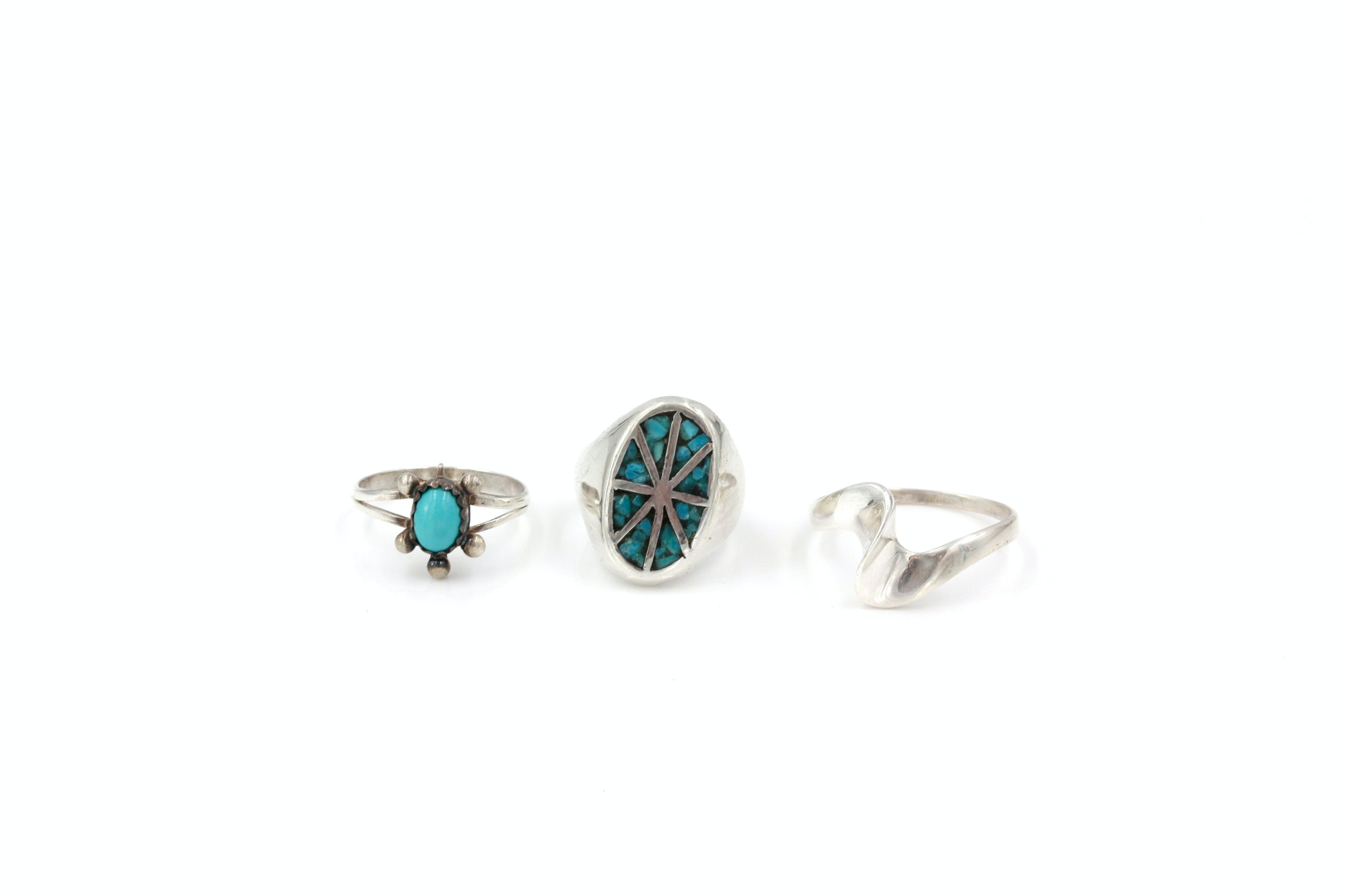 Pair of Sterling Silver and Turquoise Rings