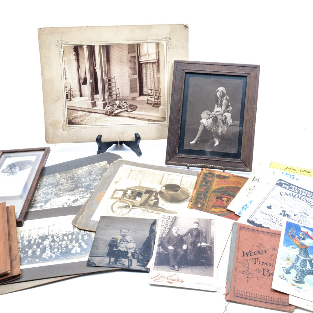 Assorted Antique and Vintage Photos, Playbills, and Other Items