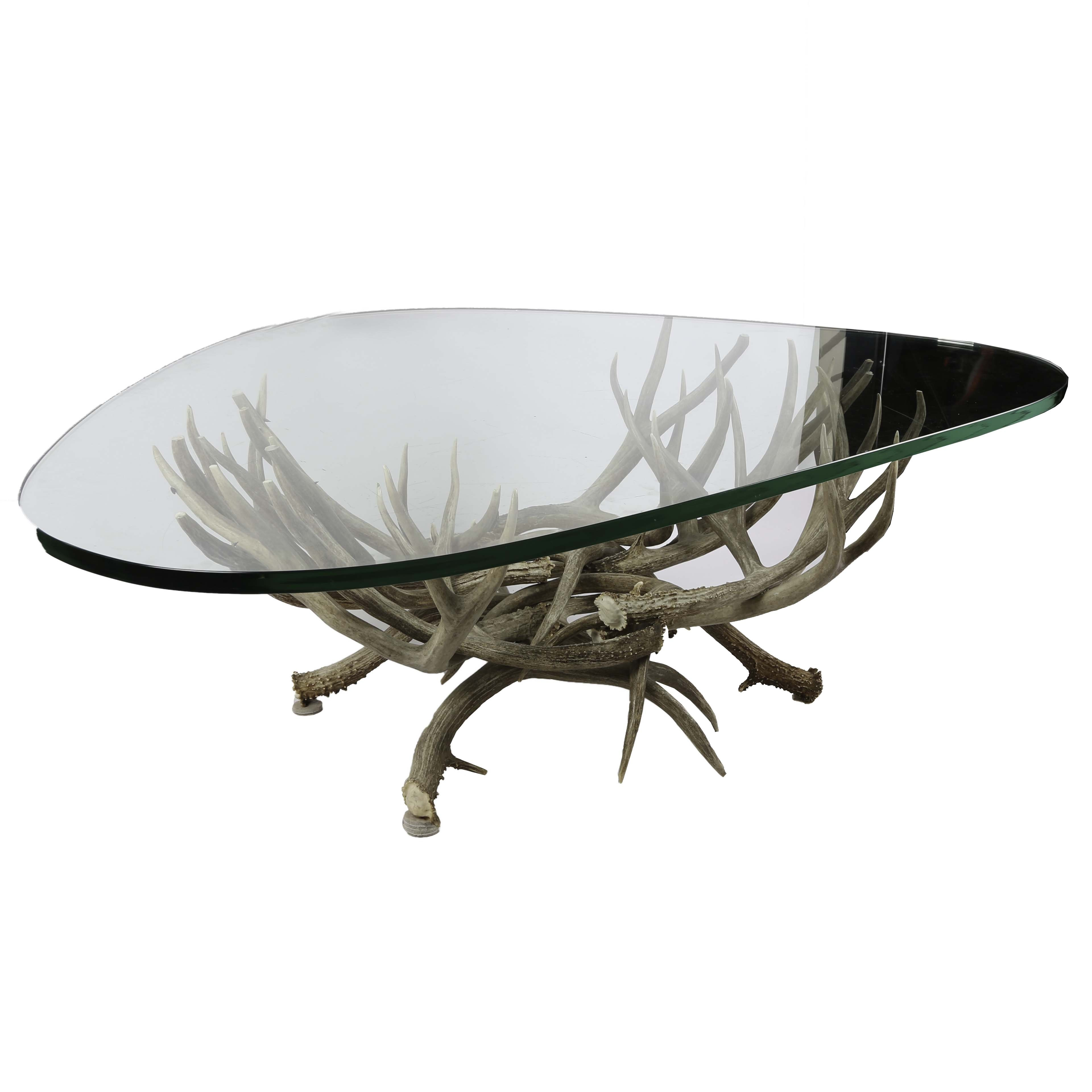 Whitetail Deer Antler Glass Coffee Table