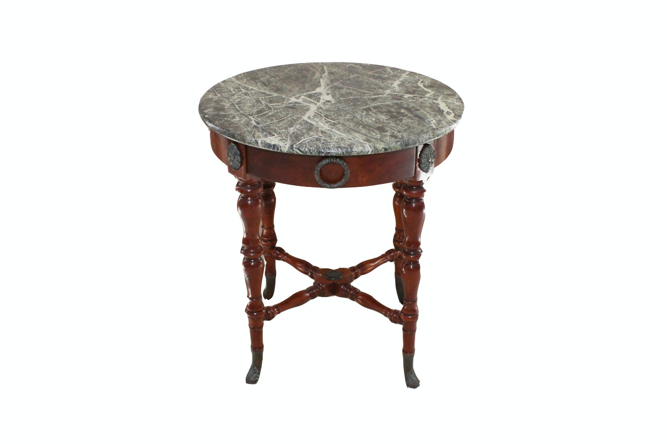 Theodore And Alexander Marble Top Cherry Accent Table