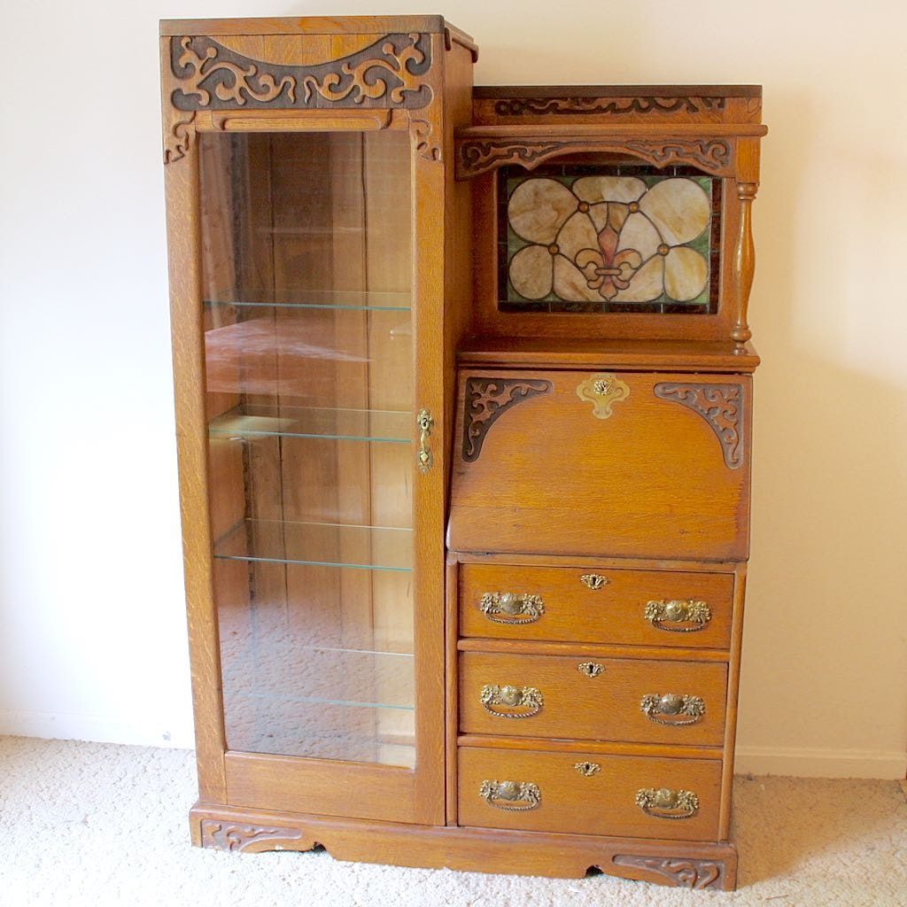 Victorian Style Curio Cabinet With Writing Bureau ...
