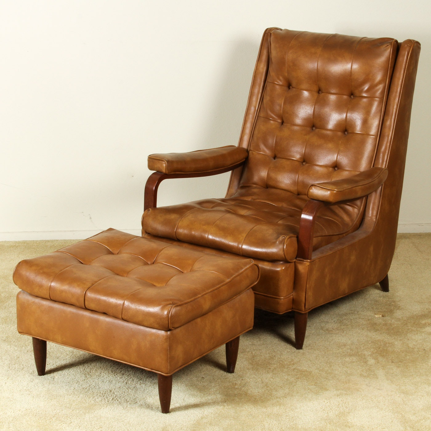 Vintage Brown Leather Chair And Ottoman By Barker Bros.