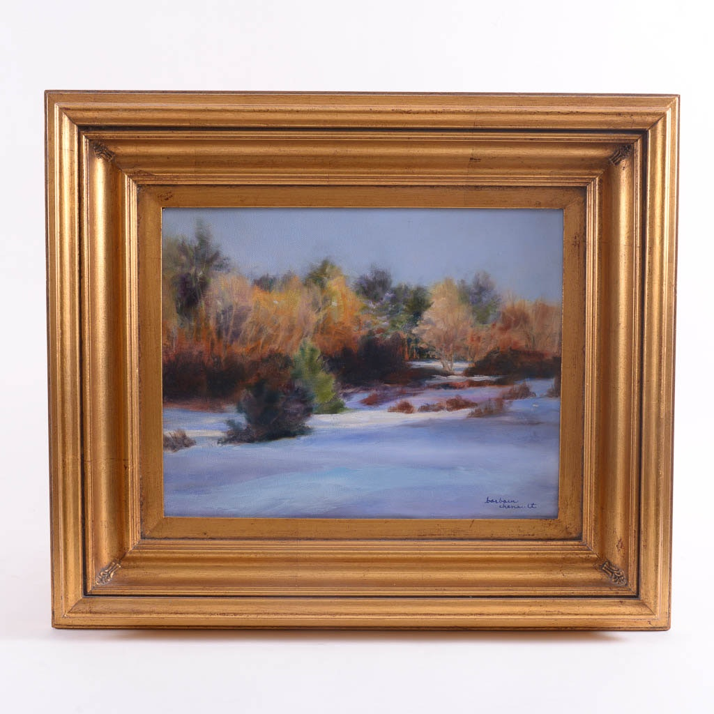 Barbara Chenault Winterscape Original Oil Painting on Canvas
