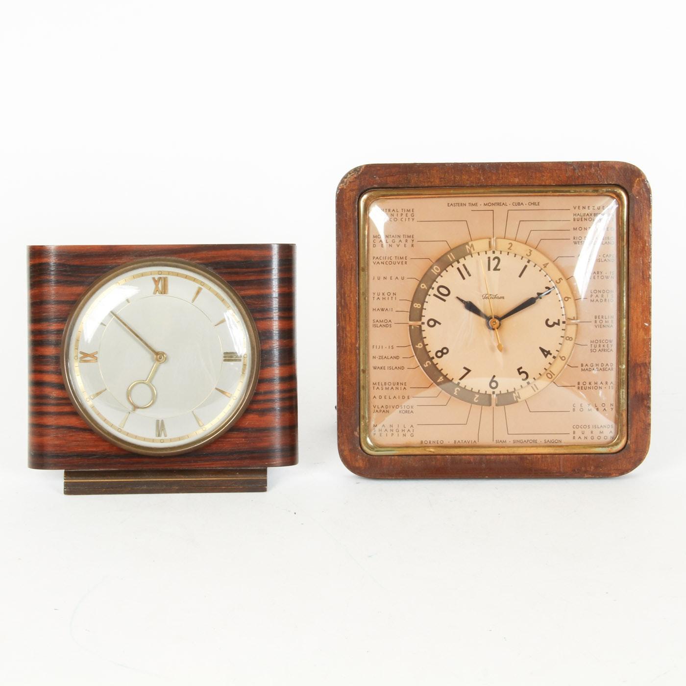 Kienzle Art Deco Wood Table Clock and a Telechron Wood Table Clock