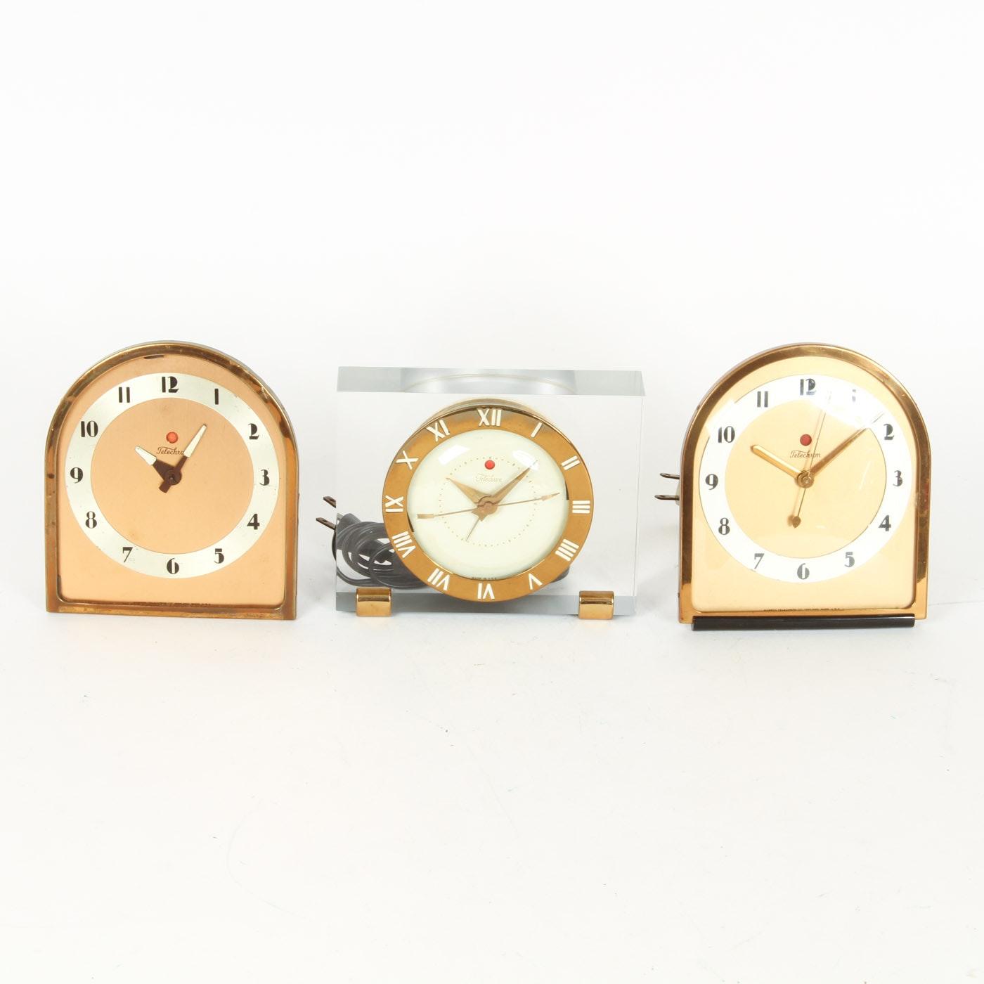 Collection of Three Vintage Telechron Mantel Clocks