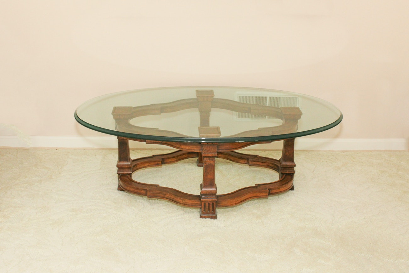 Vintage Walnut Coffee Table With Glass Top