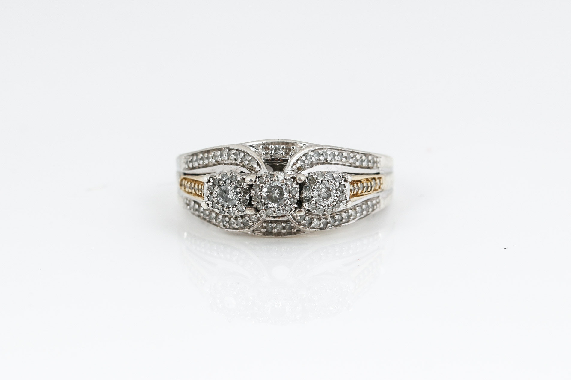 10K Yellow Gold, Sterling Silver and Diamond Ring