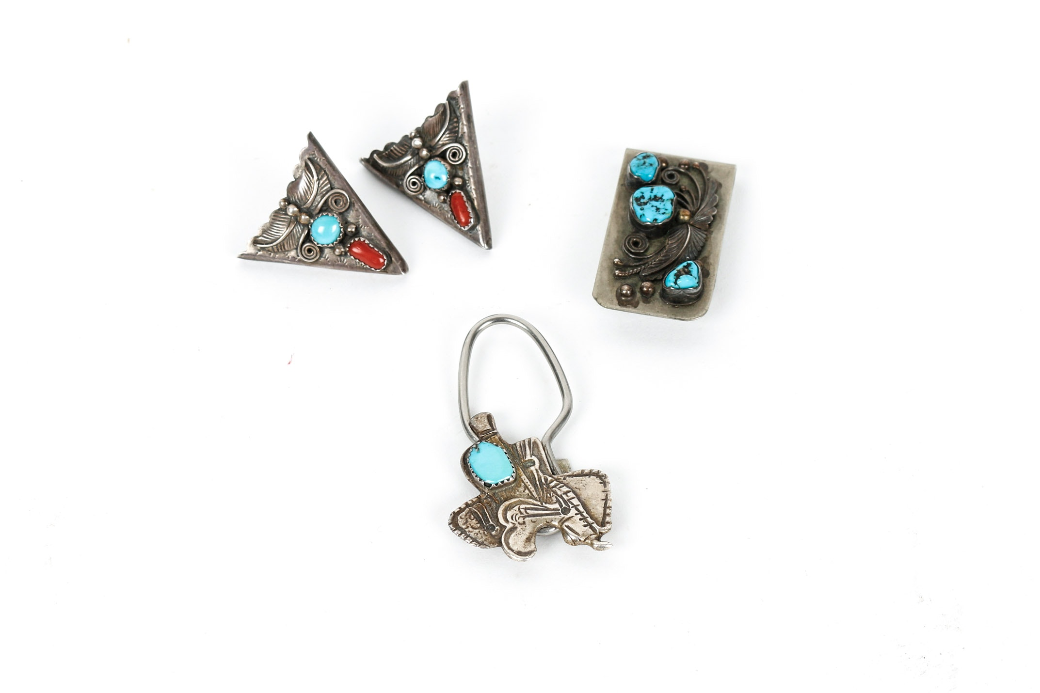 Sterling Silver Collar Clip with Turquoise and Coral, Money Clip and Key Holder