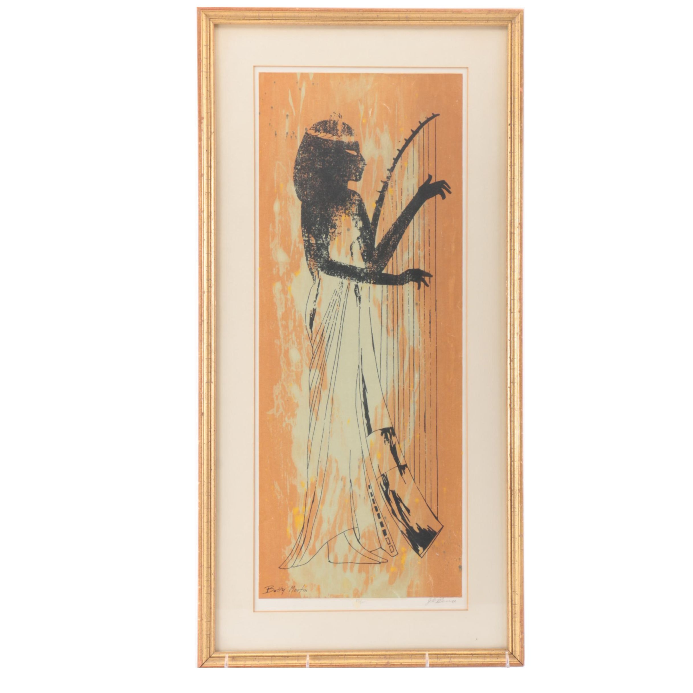 Betty Martin Limited Edition Serigraph on Paper of Egyptian Harpist