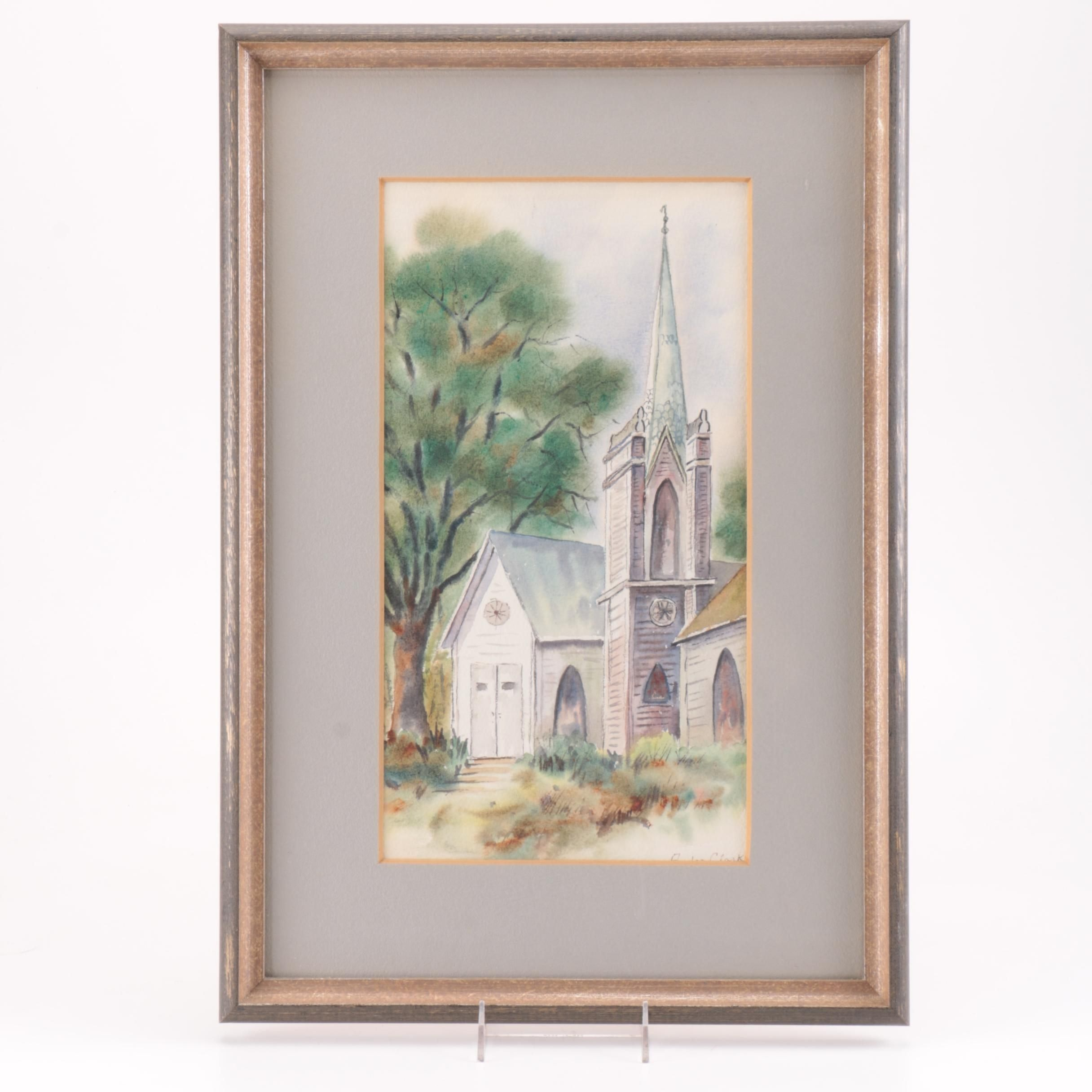 Clarke Watercolor Painting on Paper of Church