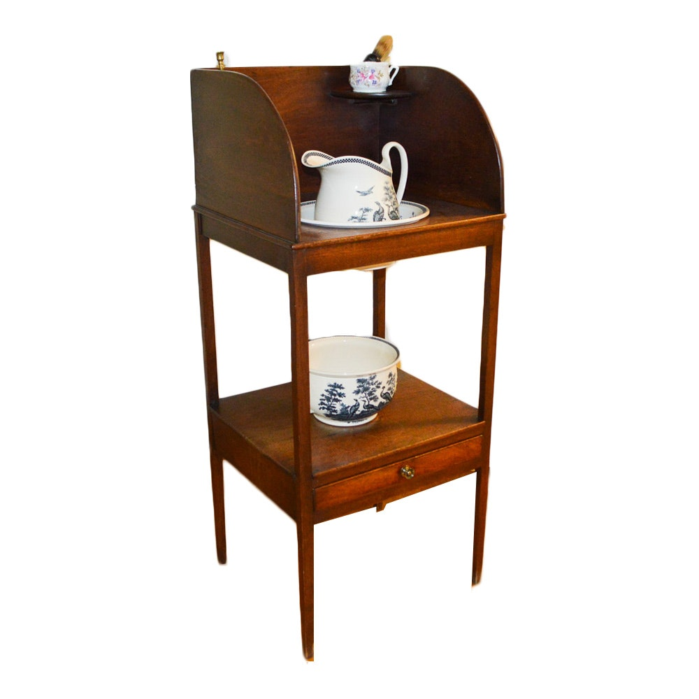 Vintage Walnut Washstand With Wedgwood Wash Bowl and Chamber Pot