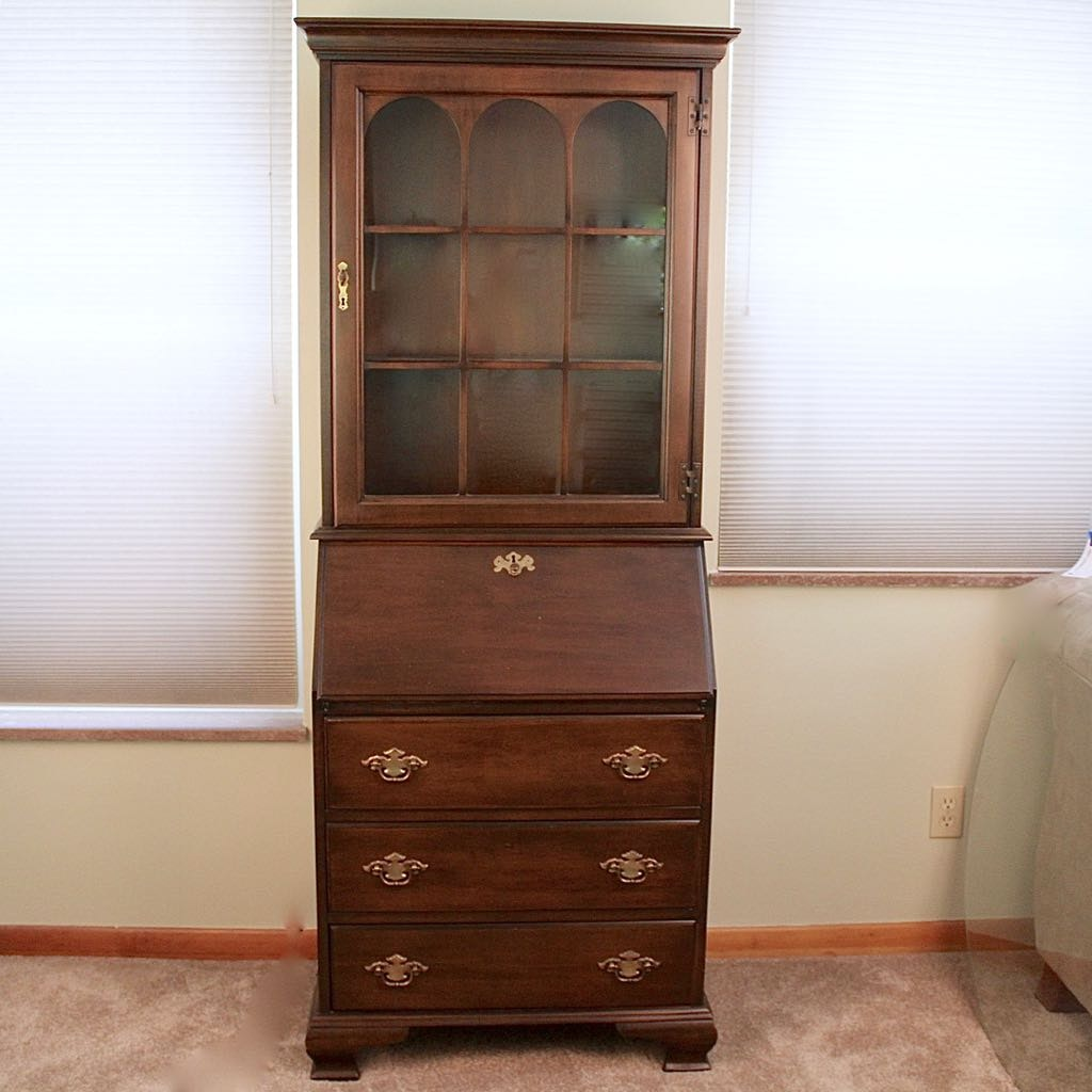 Wonderful Jasper Cabinet Secretary Desk With Display Cabinet ...