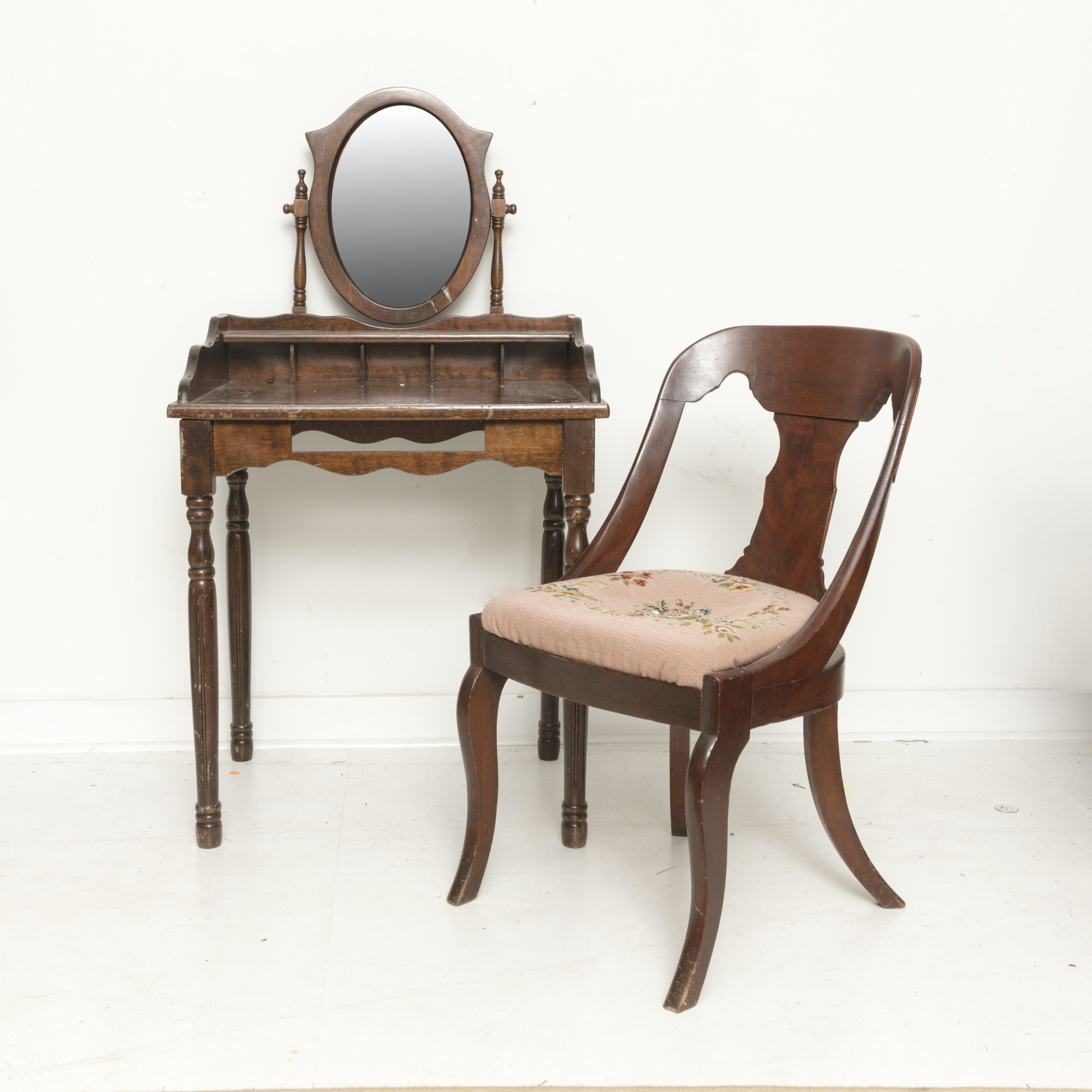 Antique Mahogany Vanity Table With Mirror and Victorian Style Chair