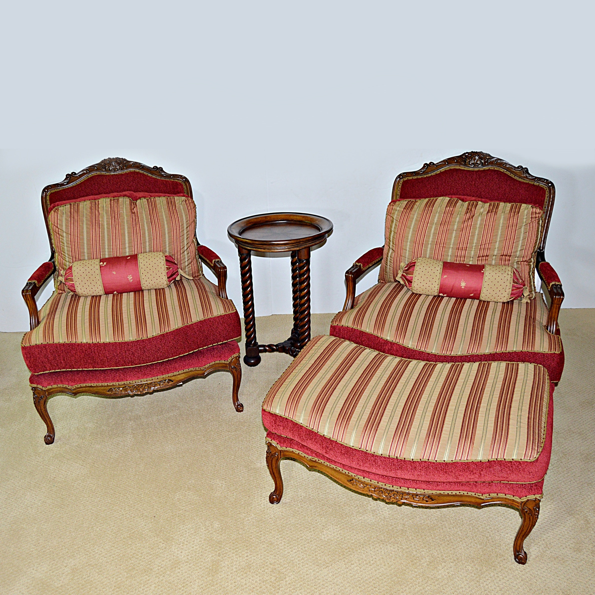 Pair of Louis XV Style Fauteuils, Round Side Table and Ottoman