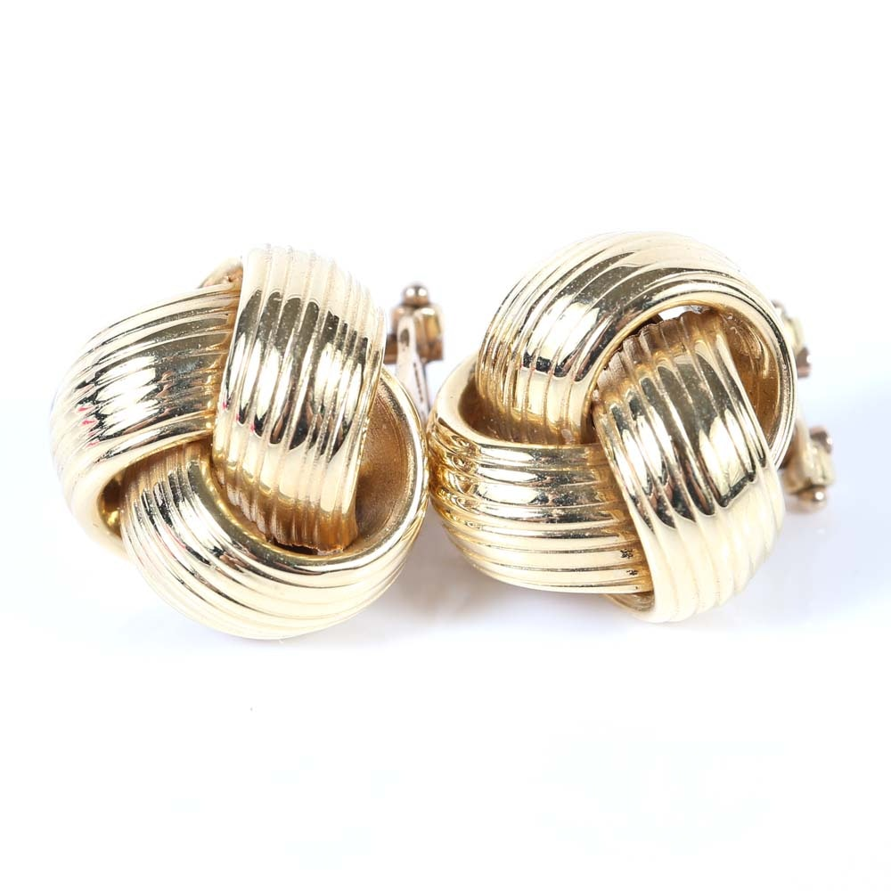 14K Yellow Gold Knot Clip-On Earrings